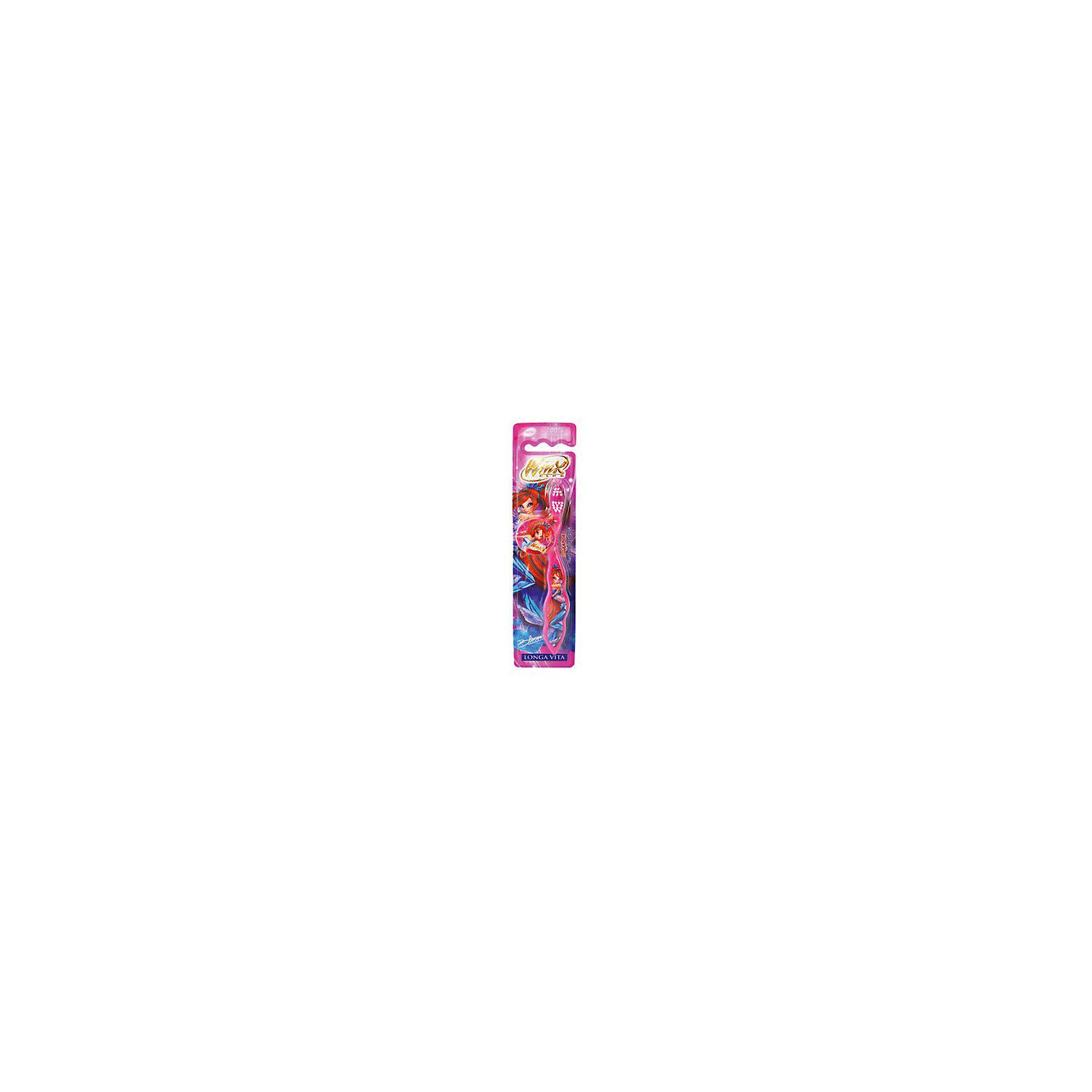 LONGA VITA Детская зубная щетка Winx с защитным колпачком , арт. WX-1 , LONGA VITA, розовый
