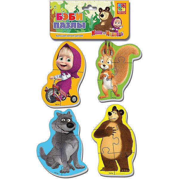 Мягкие пазлы Белка и волк, Маша и Медведь, Vladi ToysПазлы для малышей<br>Характеристики:<br><br>• Вид игр: развивающие<br>• Серия: Пазлы для самых маленьких<br>• Пол: универсальный<br>• Материал: полимер, картон<br>• Цвет: желтый, зеленый, голубой, коричневый, розовый, оранжевый и др.<br>• Комплектация: 4 пазла с изображением Маши, медведя, белки, волка <br>• Размеры (Д*Ш*В): 15,5*2*27 см<br>• Тип упаковки: полиэтиленовый пакет с хедером<br>• Вес: 34 г<br>• Общее количество элементов: 16 шт.<br><br>Мягкие пазлы Белка и волк, Маша и Медведь, Vladi Toys, производителем которых является компания, специализирующаяся на выпуске развивающих игр, давно уже стали популярными среди аналогичной продукции. Мягкие пазлы – идеальное решение для развивающих занятий с самыми маленькими детьми, так как они разделены на большие элементы с крупными изображениями, чаще всего в качестве картинок используются герои популярных мультсериалов. Самое важное в пазле для малышей – это минимум деталей и безопасность элементов. Все используемые в производстве материалы являются экологически безопасными, не вызывают аллергии, не имеют запаха. Набор Белка и волк, Маша и Медведь, Vladi Toys состоит из 16-ти элементов, из которых можно собрать четыре картинки с изображениями героев мультфильма Маша и медведь. <br>Занятия с мягкими пазлами Белка и волк, Маша и Медведь, Vladi Toys способствуют развитию не только мелкой моторики, но и внимательности, усидчивости, терпению при достижении цели. <br><br>Мягкие пазлы Белка и волк, Маша и Медведь, Vladi Toys можно купить в нашем интернет-магазине.<br><br>Ширина мм: 155<br>Глубина мм: 20<br>Высота мм: 270<br>Вес г: 34<br>Возраст от месяцев: 24<br>Возраст до месяцев: 60<br>Пол: Унисекс<br>Возраст: Детский<br>SKU: 5136064