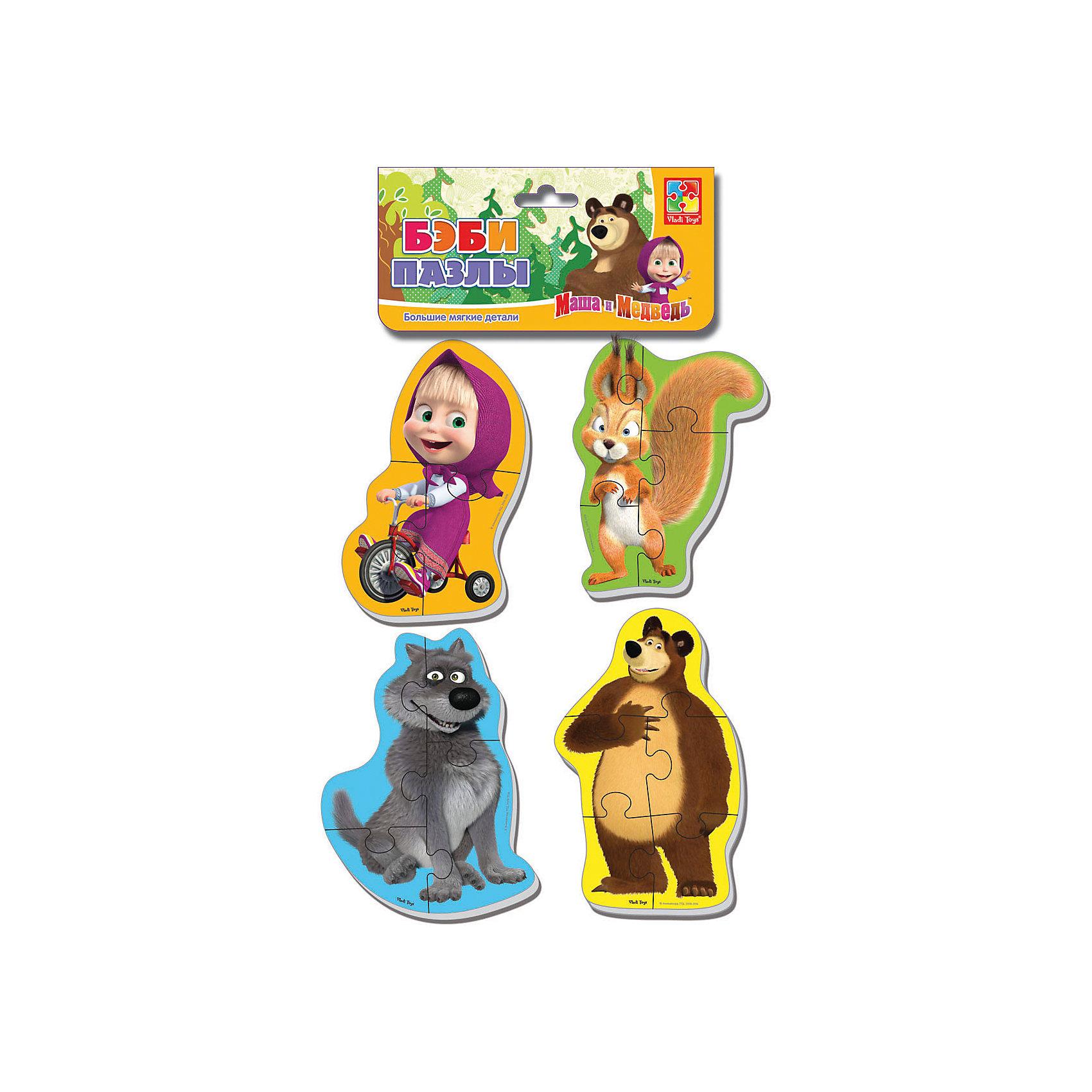Мягкие пазлы Белка и волк, Маша и Медведь, Vladi ToysМягкие пазлы<br>Характеристики:<br><br>• Вид игр: развивающие<br>• Серия: Пазлы для самых маленьких<br>• Пол: универсальный<br>• Материал: полимер, картон<br>• Цвет: желтый, зеленый, голубой, коричневый, розовый, оранжевый и др.<br>• Комплектация: 4 пазла с изображением Маши, медведя, белки, волка <br>• Размеры (Д*Ш*В): 15,5*2*27 см<br>• Тип упаковки: полиэтиленовый пакет с хедером<br>• Вес: 34 г<br>• Общее количество элементов: 16 шт.<br><br>Мягкие пазлы Белка и волк, Маша и Медведь, Vladi Toys, производителем которых является компания, специализирующаяся на выпуске развивающих игр, давно уже стали популярными среди аналогичной продукции. Мягкие пазлы – идеальное решение для развивающих занятий с самыми маленькими детьми, так как они разделены на большие элементы с крупными изображениями, чаще всего в качестве картинок используются герои популярных мультсериалов. Самое важное в пазле для малышей – это минимум деталей и безопасность элементов. Все используемые в производстве материалы являются экологически безопасными, не вызывают аллергии, не имеют запаха. Набор Белка и волк, Маша и Медведь, Vladi Toys состоит из 16-ти элементов, из которых можно собрать четыре картинки с изображениями героев мультфильма Маша и медведь. <br>Занятия с мягкими пазлами Белка и волк, Маша и Медведь, Vladi Toys способствуют развитию не только мелкой моторики, но и внимательности, усидчивости, терпению при достижении цели. <br><br>Мягкие пазлы Белка и волк, Маша и Медведь, Vladi Toys можно купить в нашем интернет-магазине.<br><br>Ширина мм: 155<br>Глубина мм: 20<br>Высота мм: 270<br>Вес г: 34<br>Возраст от месяцев: 24<br>Возраст до месяцев: 60<br>Пол: Унисекс<br>Возраст: Детский<br>SKU: 5136064