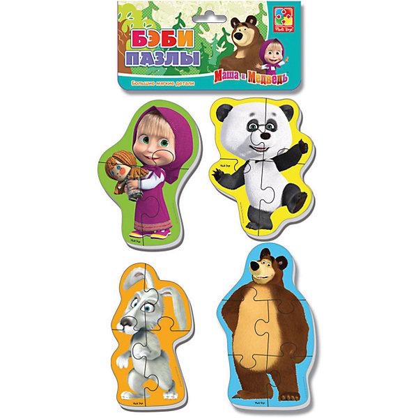 Мягкие пазлы Панда и заяц, Маша и Медведь, Vladi ToysПазлы для малышей<br>Характеристики:<br><br>• Вид игр: развивающие<br>• Серия: Пазлы для самых маленьких<br>• Пол: универсальный<br>• Материал: полимер, картон<br>• Цвет: желтый, зеленый, голубой, коричневый, розовый, белый, черный и др.<br>• Комплектация: 4 пазла с изображением Маши, медведя, панды, зайца <br>• Размеры (Д*Ш*В): 15,5*2*27 см<br>• Тип упаковки: полиэтиленовый пакет с хедером<br>• Вес: 34 г<br>• Общее количество элементов: 16 шт.<br><br>Мягкие пазлы Панда и заяц, Маша и Медведь, Vladi Toys, производителем которых является компания, специализирующаяся на выпуске развивающих игр, давно уже стали популярными среди аналогичной продукции. Мягкие пазлы – идеальное решение для развивающих занятий с самыми маленькими детьми, так как они разделены на большие элементы с крупными изображениями, чаще всего в качестве картинок используются герои популярных мультсериалов. Самое важное в пазле для малышей – это минимум деталей и безопасность элементов. Все используемые в производстве материалы являются экологически безопасными, не вызывают аллергии, не имеют запаха. Набор Панда и заяц, Маша и Медведь, Vladi Toys состоит из 16-ти элементов, из которых можно собрать четыре картинки с изображениями героев мультфильма Маша и медведь. <br>Занятия с мягкими пазлами Панда и заяц, Маша и Медведь, Vladi Toys способствуют развитию не только мелкой моторики, но и внимательности, усидчивости, терпению при достижении цели. <br><br>Мягкие пазлы Панда и заяц, Маша и Медведь, Vladi Toys можно купить в нашем интернет-магазине.<br><br>Ширина мм: 155<br>Глубина мм: 20<br>Высота мм: 270<br>Вес г: 34<br>Возраст от месяцев: 24<br>Возраст до месяцев: 60<br>Пол: Унисекс<br>Возраст: Детский<br>SKU: 5136065