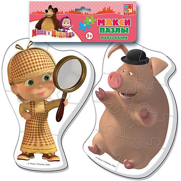 Мягкие макси-пазлы Маша и Медведь, Vladi ToysПазлы для малышей<br>Характеристики:<br><br>• Вид игр: развивающие<br>• Серия: макси-пазлы <br>• Пол: универсальный<br>• Материал: полимер, картон<br>• Цвет: желтый, коричневый и др.<br>• Комплектация: 2 пазла (один из 4 деталей, второй из 8 деталей) <br>• Размеры (Д*Ш*В): 21*1*35 см<br>• Тип упаковки: полиэтиленовый пакет с хедером<br>• Вес: 41 г<br>• Общее количество элементов: 12 шт.<br><br>Мягкие макси-пазлы Маша и Медведь, Vladi Toys, производителем которых является компания, специализирующаяся на выпуске развивающих игр, давно уже стали популярными среди аналогичной продукции. Мягкие пазлы – идеальное решение для развивающих занятий с самыми маленькими детьми, так как они разделены на большие элементы с крупными изображениями, чаще всего в качестве картинок используются герои популярных мультсериалов. Самое важное в пазле для малышей – это минимум деталей и безопасность элементов. Все используемые в производстве материалы являются экологически безопасными, не вызывают аллергии, не имеют запаха. Набор состоит из 12-ти элементов, из которых можно собрать две картинки с изображениями Маши в образе Шерлока Холмса и хрюшки из мультфильма Маша и медведь. <br>Мягкие макси-пазлы Маша и Медведь, Vladi Toys способствуют развитию не только мелкой моторики, но и внимательности, усидчивости, терпению при достижении цели. <br><br>Мягкие макси-пазлы Маша и Медведь, Vladi Toys можно купить в нашем интернет-магазине.<br>Ширина мм: 210; Глубина мм: 10; Высота мм: 350; Вес г: 41; Возраст от месяцев: 24; Возраст до месяцев: 60; Пол: Унисекс; Возраст: Детский; SKU: 5136068;