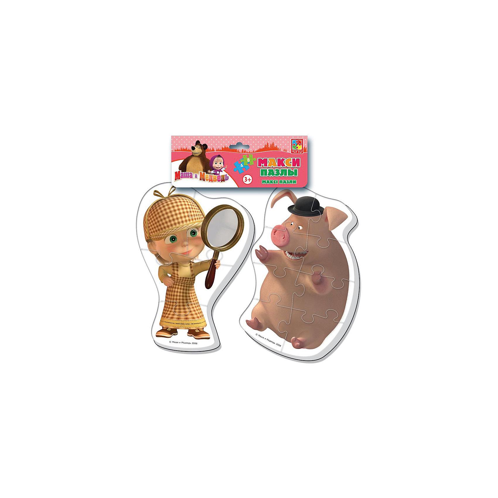 Мягкие макси-пазлы Маша и Медведь, Vladi ToysКоличество деталей<br>Характеристики:<br><br>• Вид игр: развивающие<br>• Серия: макси-пазлы <br>• Пол: универсальный<br>• Материал: полимер, картон<br>• Цвет: желтый, коричневый и др.<br>• Комплектация: 2 пазла (один из 4 деталей, второй из 8 деталей) <br>• Размеры (Д*Ш*В): 21*1*35 см<br>• Тип упаковки: полиэтиленовый пакет с хедером<br>• Вес: 41 г<br>• Общее количество элементов: 12 шт.<br><br>Мягкие макси-пазлы Маша и Медведь, Vladi Toys, производителем которых является компания, специализирующаяся на выпуске развивающих игр, давно уже стали популярными среди аналогичной продукции. Мягкие пазлы – идеальное решение для развивающих занятий с самыми маленькими детьми, так как они разделены на большие элементы с крупными изображениями, чаще всего в качестве картинок используются герои популярных мультсериалов. Самое важное в пазле для малышей – это минимум деталей и безопасность элементов. Все используемые в производстве материалы являются экологически безопасными, не вызывают аллергии, не имеют запаха. Набор состоит из 12-ти элементов, из которых можно собрать две картинки с изображениями Маши в образе Шерлока Холмса и хрюшки из мультфильма Маша и медведь. <br>Мягкие макси-пазлы Маша и Медведь, Vladi Toys способствуют развитию не только мелкой моторики, но и внимательности, усидчивости, терпению при достижении цели. <br><br>Мягкие макси-пазлы Маша и Медведь, Vladi Toys можно купить в нашем интернет-магазине.<br><br>Ширина мм: 210<br>Глубина мм: 10<br>Высота мм: 350<br>Вес г: 41<br>Возраст от месяцев: 24<br>Возраст до месяцев: 60<br>Пол: Унисекс<br>Возраст: Детский<br>SKU: 5136068