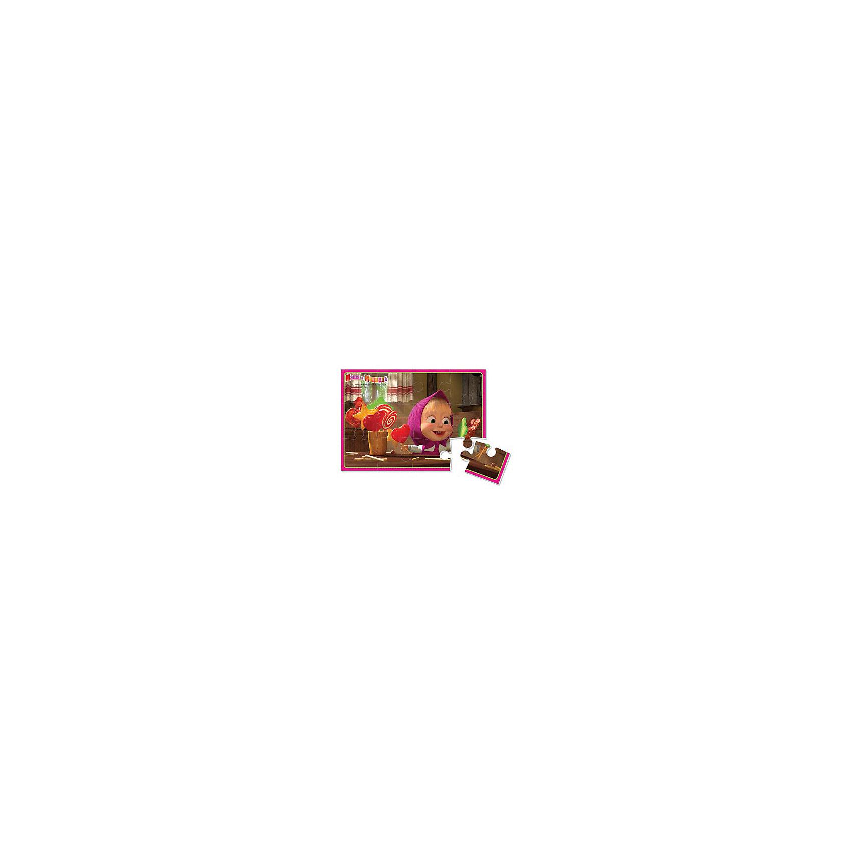 Мягкие пазлы  А5 Маша с конфетами, Маша и Медведь, Vladi ToysХарактеристики:<br><br>• Вид игр: развивающие<br>• Серия: пазлы-картинки<br>• Пол: универсальный<br>• Материал: полимер, картон<br>• Цвет: коричневый, розовый, красный, зеленый и др.<br>• Комплектация: 1 пазл из 12-ти элементов<br>• Размеры (Д*Ш*В): 18*4*28,5 см<br>• Тип упаковки: картонная коробка<br>• Вес: 20 г<br><br>Мягкие пазлы А5 Маша с конфетами, Маша и Медведь, производителем которых является компания, специализирующаяся на выпуске развивающих игр, давно уже стали популярными среди аналогичной продукции. Мягкие пазлы – идеальное решение для развивающих занятий с самыми маленькими детьми, так как они разделены на большие элементы с крупными изображениями, чаще всего в качестве картинок используются герои популярных мультсериалов. Самое важное в пазле для малышей – это минимум деталей и безопасность элементов. Все используемые в производстве материалы являются экологически безопасными, не вызывают аллергии, не имеют запаха. Пазл Маша с конфетами, Маша и Медведь представляет собой сюжетную картинку размером А5, которая состоит из 12-и крупных элементов с изображением сюжета из мультфильма Маша и медведь. <br>Занятия с мягкими пазлами от Vladi Toys способствуют развитию не только мелкой моторики, но и внимательности, усидчивости, терпению при достижении цели. Кроме того, по собранной картинке можно составлять рассказ, что позволит развивать речевые навыки, память и воображение.<br><br>Мягкие пазлы А5 Маша с конфетами, Маша и Медведь можно купить в нашем интернет-магазине.<br><br>Ширина мм: 180<br>Глубина мм: 4<br>Высота мм: 285<br>Вес г: 20<br>Возраст от месяцев: 24<br>Возраст до месяцев: 60<br>Пол: Унисекс<br>Возраст: Детский<br>SKU: 5136072