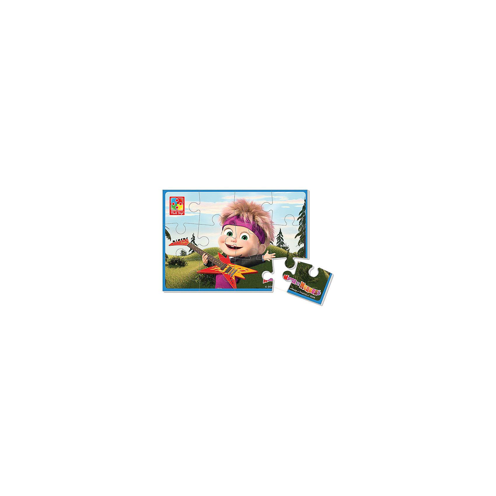 Мягкие пазлы А5 Маша с гитарой, Маша и Медведь, Vladi ToysХарактеристики:<br><br>• Вид игр: развивающие<br>• Серия: пазлы-картинки<br>• Пол: универсальный<br>• Материал: полимер, картон<br>• Цвет: розовый, красный, зеленый и др.<br>• Комплектация: 1 пазл из 12-ти элементов<br>• Размеры (Д*Ш*В): 18*4*28,5 см<br>• Тип упаковки: картонная коробка<br>• Вес: 20 г<br><br>Мягкие пазлы А5 Маша с гитарой, Маша и Медведь, производителем которых является компания, специализирующаяся на выпуске развивающих игр, давно уже стали популярными среди аналогичной продукции. Мягкие пазлы – идеальное решение для развивающих занятий с самыми маленькими детьми, так как они разделены на большие элементы с крупными изображениями, чаще всего в качестве картинок используются герои популярных мультсериалов. Самое важное в пазле для малышей – это минимум деталей и безопасность элементов. Все используемые в производстве материалы являются экологически безопасными, не вызывают аллергии, не имеют запаха. Пазл Маша с гитарой, Маша и Медведь представляет собой сюжетную картинку размером А5, которая состоит из 12-и крупных элементов с изображением сюжета из мультфильма Маша и медведь. <br>Занятия с мягкими пазлами от Vladi Toys способствуют развитию не только мелкой моторики, но и внимательности, усидчивости, терпению при достижении цели. Кроме того, по собранной картинке можно составлять рассказ, что позволит развивать речевые навыки, память и воображение.<br><br>Мягкие пазлы А5 Маша с гитарой, Маша и Медведь можно купить в нашем интернет-магазине.<br><br>Ширина мм: 180<br>Глубина мм: 4<br>Высота мм: 285<br>Вес г: 20<br>Возраст от месяцев: 24<br>Возраст до месяцев: 60<br>Пол: Унисекс<br>Возраст: Детский<br>SKU: 5136073
