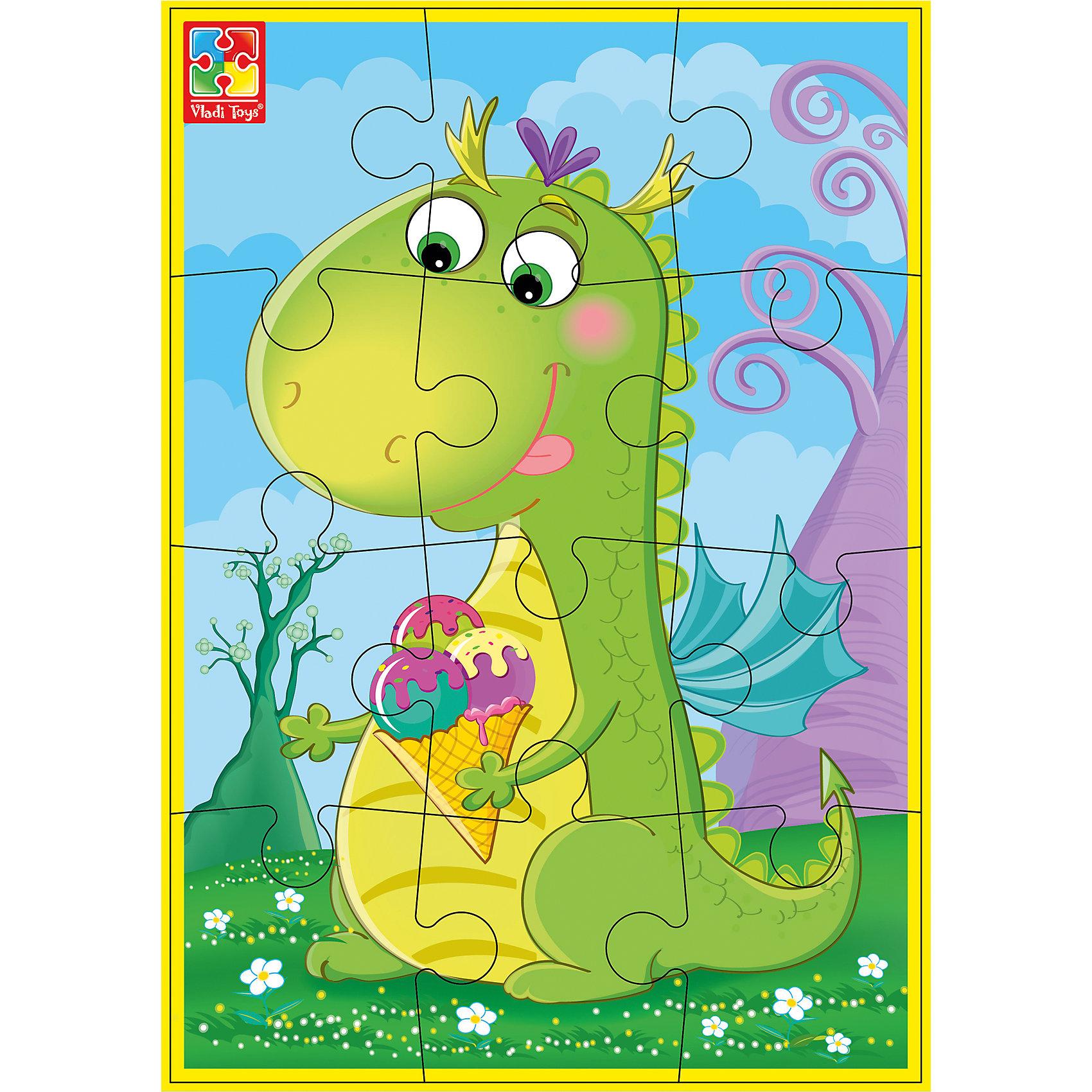 Мягкие пазлы А5 Динозаврик с мороженым, Динозаврики, Vladi ToysХарактеристики:<br><br>• Вид игр: развивающие<br>• Серия: пазлы-картинки<br>• Пол: универсальный<br>• Материал: полимер, картон<br>• Цвет: голубой, желтый, зеленый, сиреневый и др.<br>• Комплектация: 1 пазл из 12-ти элементов<br>• Размеры (Д*Ш*В): 18*4*28,5 см<br>• Тип упаковки: картонная коробка<br>• Вес: 21 г<br><br>Мягкие пазлы А5 Динозаврик с мороженым, Динозаврики, Vladi Toys, производителем которых является компания, специализирующаяся на выпуске развивающих игр, давно уже стали популярными среди аналогичной продукции. Мягкие пазлы – идеальное решение для развивающих занятий с самыми маленькими детьми, так как они разделены на большие элементы с крупными изображениями, чаще всего в качестве картинок используются герои популярных мультсериалов. Самое важное в пазле для малышей – это минимум деталей и безопасность элементов. Все используемые в производстве материалы являются экологически безопасными, не вызывают аллергии, не имеют запаха. Пазл Динозаврик с мороженым, Динозаврики, Vladi Toys, представляет собой сюжетную картинку размером А5, которая состоит из 12-и крупных элементов с изображением милого динозаврика. <br>Занятия с мягкими пазлами от Vladi Toys способствуют развитию не только мелкой моторики, но и внимательности, усидчивости, терпению при достижении цели. Кроме того, по собранной картинке можно составлять рассказ, что позволит развивать речевые навыки, память и воображение.<br><br>Мягкие пазлы А5 Динозаврик с мороженым, Динозаврики, Vladi Toys, можно купить в нашем интернет-магазине.<br><br>Ширина мм: 180<br>Глубина мм: 4<br>Высота мм: 285<br>Вес г: 21<br>Возраст от месяцев: 24<br>Возраст до месяцев: 60<br>Пол: Унисекс<br>Возраст: Детский<br>SKU: 5136076