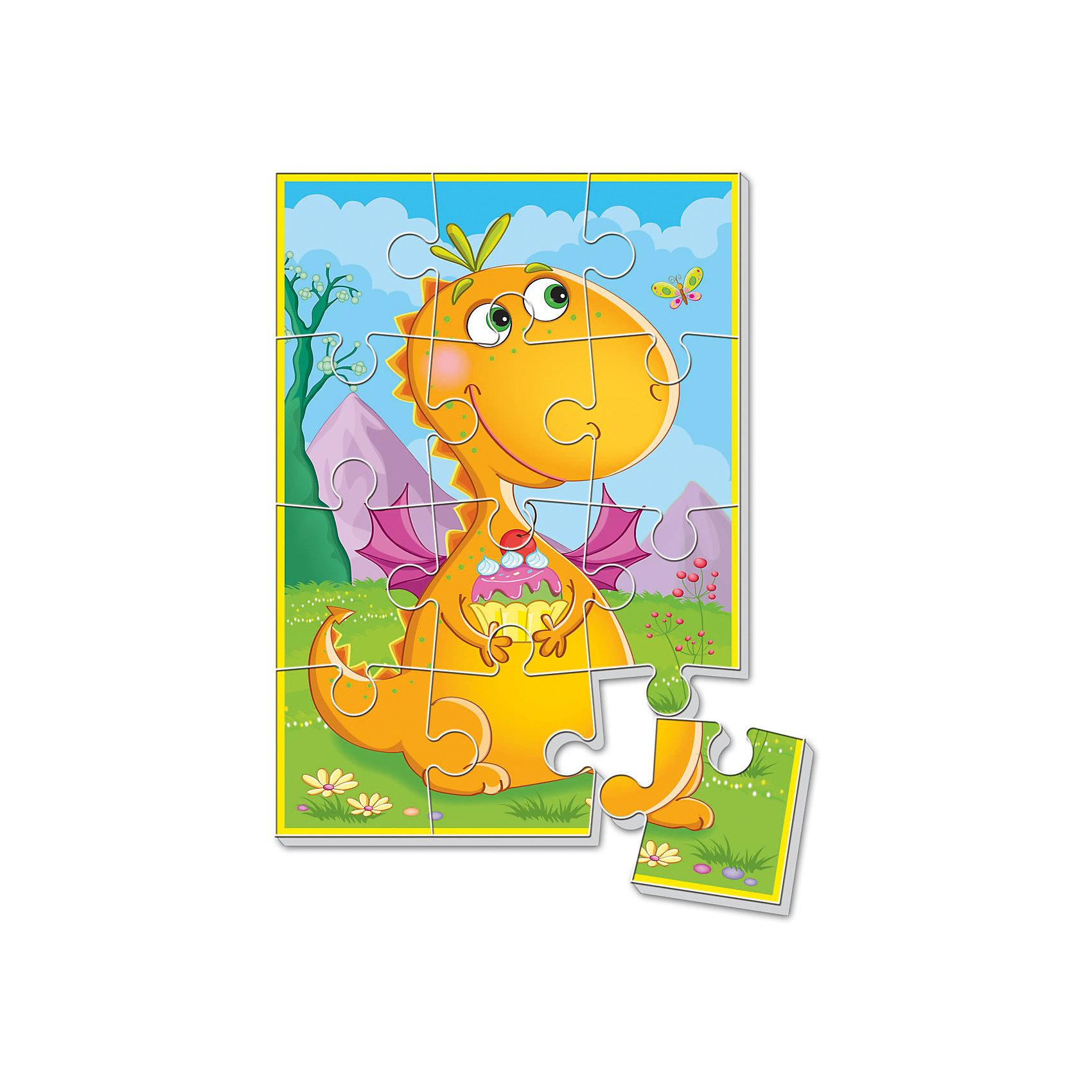 Мягкие пазлы А5 Динозаврик с пирожным, Динозаврики, Vladi ToysМягкие пазлы<br>Характеристики:<br><br>• Вид игр: развивающие<br>• Серия: пазлы-картинки<br>• Пол: универсальный<br>• Материал: полимер, картон<br>• Цвет: оранжевый, розовый, голубой, зеленый, сиреневый и др.<br>• Комплектация: 1 пазл из 12-ти элементов<br>• Размеры (Д*Ш*В): 18*4*28,5 см<br>• Тип упаковки: картонная коробка<br>• Вес: 21 г<br><br>Мягкие пазлы А5 Динозаврик с пирожным, Динозаврики, Vladi Toys, производителем которых является компания, специализирующаяся на выпуске развивающих игр, давно уже стали популярными среди аналогичной продукции. Мягкие пазлы – идеальное решение для развивающих занятий с самыми маленькими детьми, так как они разделены на большие элементы с крупными изображениями, чаще всего в качестве картинок используются герои популярных мультсериалов. Самое важное в пазле для малышей – это минимум деталей и безопасность элементов. Все используемые в производстве материалы являются экологически безопасными, не вызывают аллергии, не имеют запаха. Пазл Динозаврик с пирожным, Динозаврики, Vladi Toys, представляет собой сюжетную картинку размером А5, которая состоит из 12-и крупных элементов с изображением милого динозаврика. <br>Занятия с мягкими пазлами от Vladi Toys способствуют развитию не только мелкой моторики, но и внимательности, усидчивости, терпению при достижении цели. Кроме того, по собранной картинке можно составлять рассказ, что позволит развивать речевые навыки, память и воображение.<br><br>Мягкие пазлы А5 Динозаврик с пирожным, Динозаврики, Vladi Toys, можно купить в нашем интернет-магазине.<br><br>Ширина мм: 180<br>Глубина мм: 4<br>Высота мм: 285<br>Вес г: 21<br>Возраст от месяцев: 24<br>Возраст до месяцев: 60<br>Пол: Унисекс<br>Возраст: Детский<br>SKU: 5136077