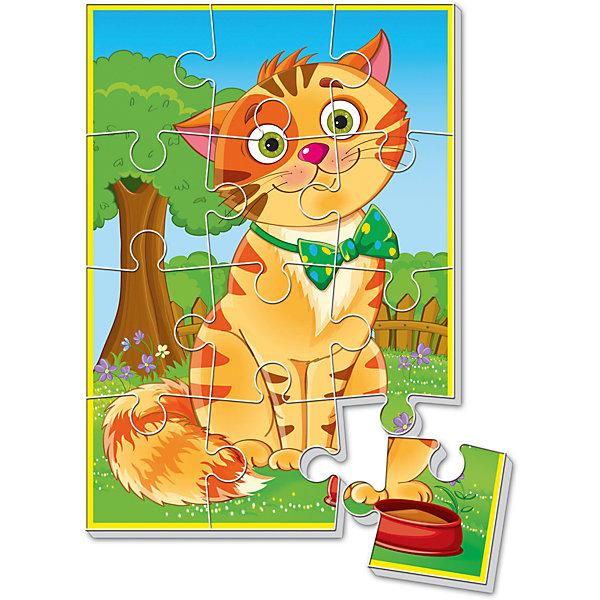 Мягкие пазлы  А5 Котик, Vladi ToysПазлы для малышей<br>Характеристики:<br><br>• Вид игр: развивающие<br>• Серия: пазлы-картинки<br>• Пол: универсальный<br>• Материал: полимер, картон<br>• Цвет: оранжевый, голубой, зеленый, коричневый и др.<br>• Комплектация: 1 пазл из 12-ти элементов<br>• Размеры (Д*Ш*В): 18*4*28,5 см<br>• Тип упаковки: картонная коробка<br>• Вес: 21 г<br><br>Мягкие пазлы А5 Котик, Vladi Toys, производителем которых является компания, специализирующаяся на выпуске развивающих игр, давно уже стали популярными среди аналогичной продукции. Мягкие пазлы – идеальное решение для развивающих занятий с самыми маленькими детьми, так как они разделены на большие элементы с крупными изображениями, чаще всего в качестве картинок используются герои популярных мультсериалов. Самое важное в пазле для малышей – это минимум деталей и безопасность элементов. Все используемые в производстве материалы являются экологически безопасными, не вызывают аллергии, не имеют запаха. Пазл Котик, Vladi Toys, представляет собой сюжетную картинку размером А5, которая состоит из 12-и крупных элементов с изображением улыбающегося котика. <br>Занятия с мягкими пазлами от Vladi Toys способствуют развитию не только мелкой моторики, но и внимательности, усидчивости, терпению при достижении цели. Кроме того, по собранной картинке можно составлять рассказ, что позволит развивать речевые навыки, память и воображение.<br><br>Мягкие пазлы А5 Котик, Vladi Toys, можно купить в нашем интернет-магазине.<br>Ширина мм: 180; Глубина мм: 4; Высота мм: 285; Вес г: 21; Возраст от месяцев: 24; Возраст до месяцев: 60; Пол: Унисекс; Возраст: Детский; SKU: 5136078;
