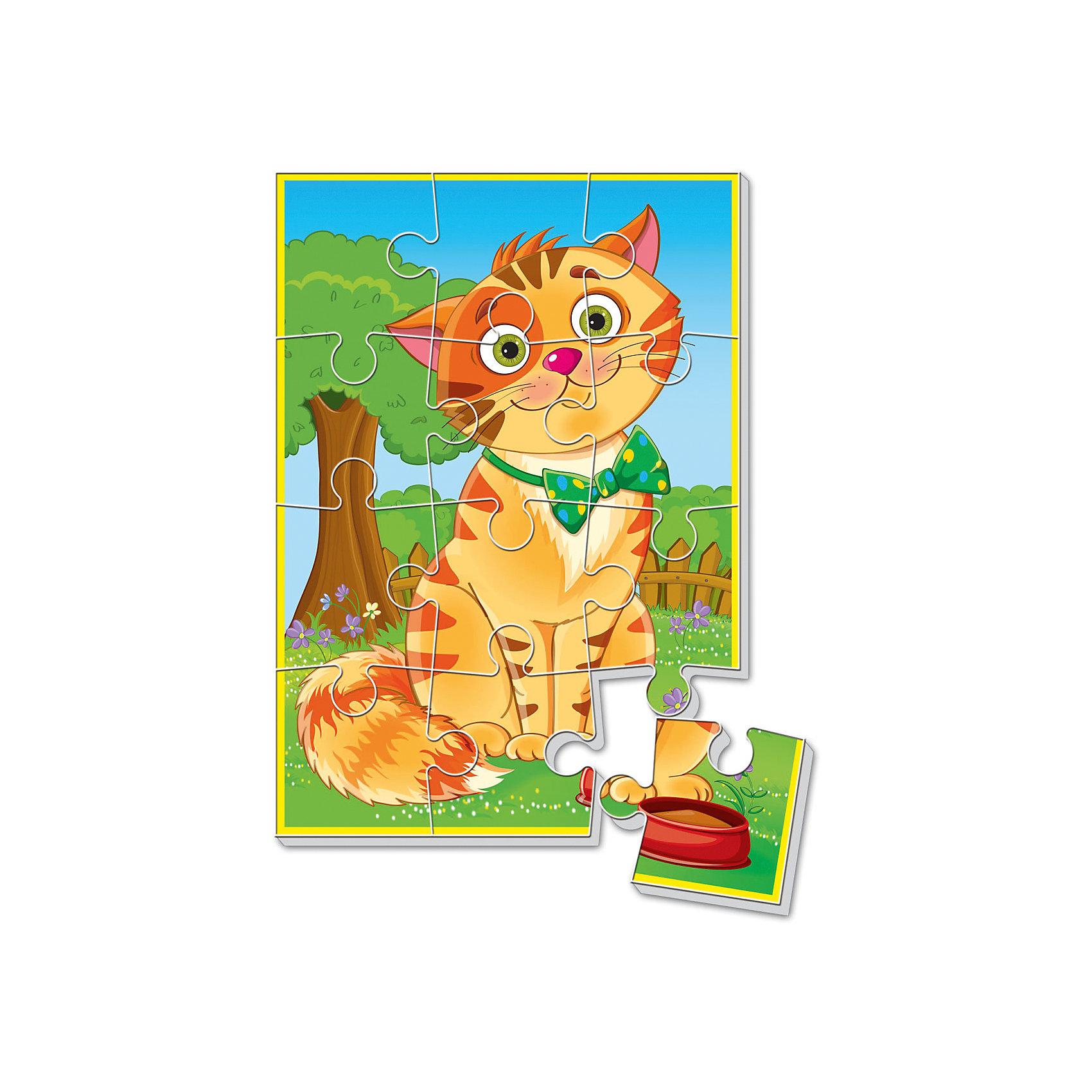 Vladi Toys Мягкие пазлы  А5 Котик, Vladi Toys павлин мягкие пазлы