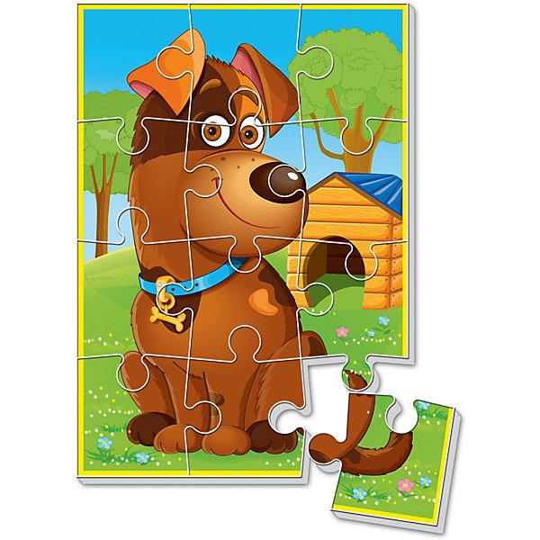 Мягкие пазлы  А5 Собачка, Vladi ToysПазлы для малышей<br>Характеристики:<br><br>• Вид игр: развивающие<br>• Серия: пазлы-картинки<br>• Пол: универсальный<br>• Материал: полимер, картон<br>• Цвет: оранжевый, голубой, зеленый, коричневый и др.<br>• Комплектация: 1 пазл из 12-ти элементов<br>• Размеры (Д*Ш*В): 18*4*28,5 см<br>• Тип упаковки: картонная коробка<br>• Вес: 21 г<br><br>Мягкие пазлы А5 Собачка, Vladi Toys, производителем которых является компания, специализирующаяся на выпуске развивающих игр, давно уже стали популярными среди аналогичной продукции. Мягкие пазлы – идеальное решение для развивающих занятий с самыми маленькими детьми, так как они разделены на большие элементы с крупными изображениями, чаще всего в качестве картинок используются герои популярных мультсериалов. Самое важное в пазле для малышей – это минимум деталей и безопасность элементов. Все используемые в производстве материалы являются экологически безопасными, не вызывают аллергии, не имеют запаха. Пазл Собачка, Vladi Toys, представляет собой сюжетную картинку размером А5, которая состоит из 12-и крупных элементов с изображением собачки у будки. <br>Занятия с мягкими пазлами от Vladi Toys способствуют развитию не только мелкой моторики, но и внимательности, усидчивости, терпению при достижении цели. Кроме того, по собранной картинке можно составлять рассказ, что позволит развивать речевые навыки, память и воображение.<br><br>Мягкие пазлы А5 Собачка, Vladi Toys, можно купить в нашем интернет-магазине.<br>Ширина мм: 180; Глубина мм: 4; Высота мм: 285; Вес г: 21; Возраст от месяцев: 24; Возраст до месяцев: 60; Пол: Унисекс; Возраст: Детский; SKU: 5136079;