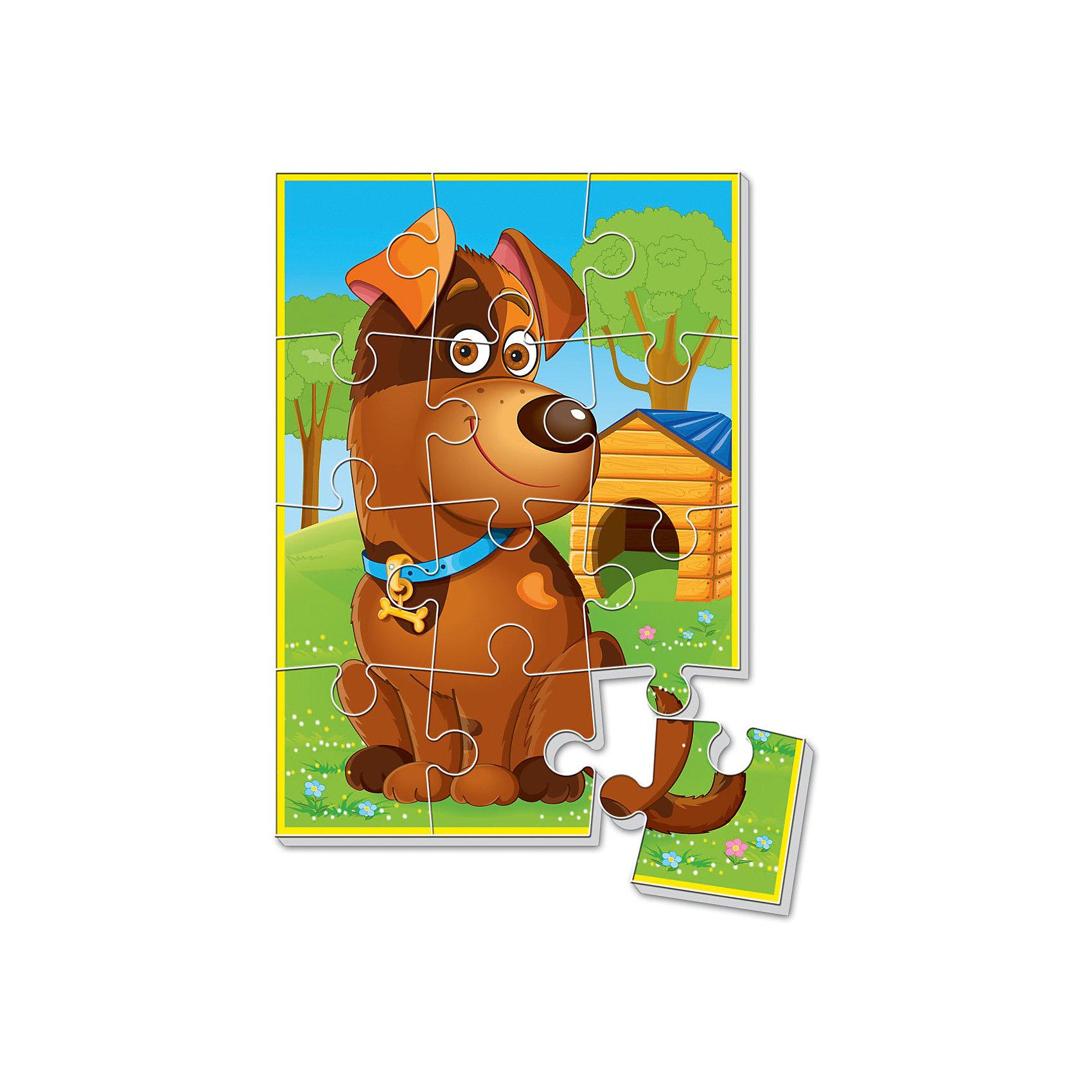 Мягкие пазлы  А5 Собачка, Vladi ToysХарактеристики:<br><br>• Вид игр: развивающие<br>• Серия: пазлы-картинки<br>• Пол: универсальный<br>• Материал: полимер, картон<br>• Цвет: оранжевый, голубой, зеленый, коричневый и др.<br>• Комплектация: 1 пазл из 12-ти элементов<br>• Размеры (Д*Ш*В): 18*4*28,5 см<br>• Тип упаковки: картонная коробка<br>• Вес: 21 г<br><br>Мягкие пазлы А5 Собачка, Vladi Toys, производителем которых является компания, специализирующаяся на выпуске развивающих игр, давно уже стали популярными среди аналогичной продукции. Мягкие пазлы – идеальное решение для развивающих занятий с самыми маленькими детьми, так как они разделены на большие элементы с крупными изображениями, чаще всего в качестве картинок используются герои популярных мультсериалов. Самое важное в пазле для малышей – это минимум деталей и безопасность элементов. Все используемые в производстве материалы являются экологически безопасными, не вызывают аллергии, не имеют запаха. Пазл Собачка, Vladi Toys, представляет собой сюжетную картинку размером А5, которая состоит из 12-и крупных элементов с изображением собачки у будки. <br>Занятия с мягкими пазлами от Vladi Toys способствуют развитию не только мелкой моторики, но и внимательности, усидчивости, терпению при достижении цели. Кроме того, по собранной картинке можно составлять рассказ, что позволит развивать речевые навыки, память и воображение.<br><br>Мягкие пазлы А5 Собачка, Vladi Toys, можно купить в нашем интернет-магазине.<br><br>Ширина мм: 180<br>Глубина мм: 4<br>Высота мм: 285<br>Вес г: 21<br>Возраст от месяцев: 24<br>Возраст до месяцев: 60<br>Пол: Унисекс<br>Возраст: Детский<br>SKU: 5136079