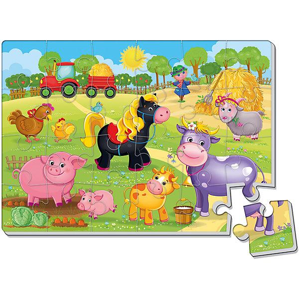 Мягкие пазлы А4 Ферма, 24 дет., Vladi ToysПазлы для малышей<br>Характеристики:<br><br>• Вид игр: развивающие<br>• Серия: пазлы-картинки<br>• Пол: универсальный<br>• Материал: полимер, картон<br>• Цвет: оранжевый, голубой, зеленый, розовый, красный, коричневый и др.<br>• Комплектация: 1 пазл из 24-ти элементов<br>• Размеры (Д*Ш*В): 34,5*6*30,5 см<br>• Тип упаковки: картонная коробка<br>• Вес: 50 г<br><br>Мягкие пазлы А4 Ферма, 24 дет., Vladi Toys, производителем которых является компания, специализирующаяся на выпуске развивающих игр, давно уже стали популярными среди аналогичной продукции. Мягкие пазлы – идеальное решение для развивающих занятий с самыми маленькими детьми, так как они разделены на большие элементы с крупными изображениями, чаще всего в качестве картинок используются герои популярных мультсериалов. Самое важное в пазле для малышей – это минимум деталей и безопасность элементов. Все используемые в производстве материалы являются экологически безопасными, не вызывают аллергии, не имеют запаха. Пазл А4 Ферма, 24 дет., Vladi Toys, представляет собой сюжетную картинку размером А4, которая состоит из 24-и крупных элементов с изображением домашних животных. <br>Занятия с мягкими пазлами от Vladi Toys способствуют развитию не только мелкой моторики, но и внимательности, усидчивости, терпению при достижении цели. Кроме того, по собранной картинке можно составлять рассказ, что позволит развивать речевые навыки, память и воображение.<br><br>Мягкие пазлы А4 Ферма, 24 дет., Vladi Toys, можно купить в нашем интернет-магазине.<br><br>Ширина мм: 345<br>Глубина мм: 6<br>Высота мм: 305<br>Вес г: 50<br>Возраст от месяцев: 24<br>Возраст до месяцев: 60<br>Пол: Унисекс<br>Возраст: Детский<br>SKU: 5136080