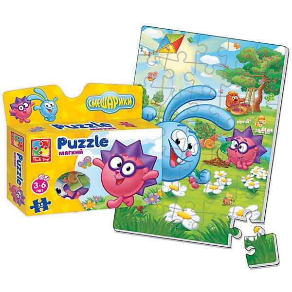 Мягкие пазлы А4 Смешарики, в коробке, Vladi ToysПазлы для малышей<br>Характеристики:<br><br>• Вид игр: развивающие<br>• Серия: пазлы-картинки<br>• Пол: универсальный<br>• Материал: полимер, картон<br>• Цвет: голубой, зеленый, сиреневый, розовый и др.<br>• Комплектация: 1 пазл из 35-ти элементов<br>• Размеры (Д*Ш*В): 19*4,5*22 см<br>• Тип упаковки: картонная коробка<br>• Вес: 75 г<br><br>Мягкие пазлы А4 Смешарики, в коробке, Vladi Toys, производителем которых является компания, специализирующаяся на выпуске развивающих игр, давно уже стали популярными среди аналогичной продукции. Мягкие пазлы – идеальное решение для развивающих занятий с самыми маленькими детьми, так как они разделены на большие элементы с крупными изображениями, чаще всего в качестве картинок используются герои популярных мультсериалов. Самое важное в пазле для малышей – это минимум деталей и безопасность элементов. Все используемые в производстве материалы являются экологически безопасными, не вызывают аллергии, не имеют запаха. Пазл А4 Смешарики, в коробке, Vladi Toys, представляет собой сюжетную картинку размером А4, которая состоит из 35-и крупных элементов с изображением Кроша, Ежика и Копатыча на цветочной поляне из мультфильма Смешарики. <br>Занятия с мягкими пазлами от Vladi Toys способствуют развитию не только мелкой моторики, но и внимательности, усидчивости, терпению при достижении цели. Кроме того, по собранной картинке можно составлять рассказ, что позволит развивать речевые навыки, память и воображение.<br><br>Мягкие пазлы А4 Смешарики, в коробке, Vladi Toys, можно купить в нашем интернет-магазине.<br><br>Ширина мм: 190<br>Глубина мм: 45<br>Высота мм: 220<br>Вес г: 75<br>Возраст от месяцев: 24<br>Возраст до месяцев: 60<br>Пол: Унисекс<br>Возраст: Детский<br>SKU: 5136083