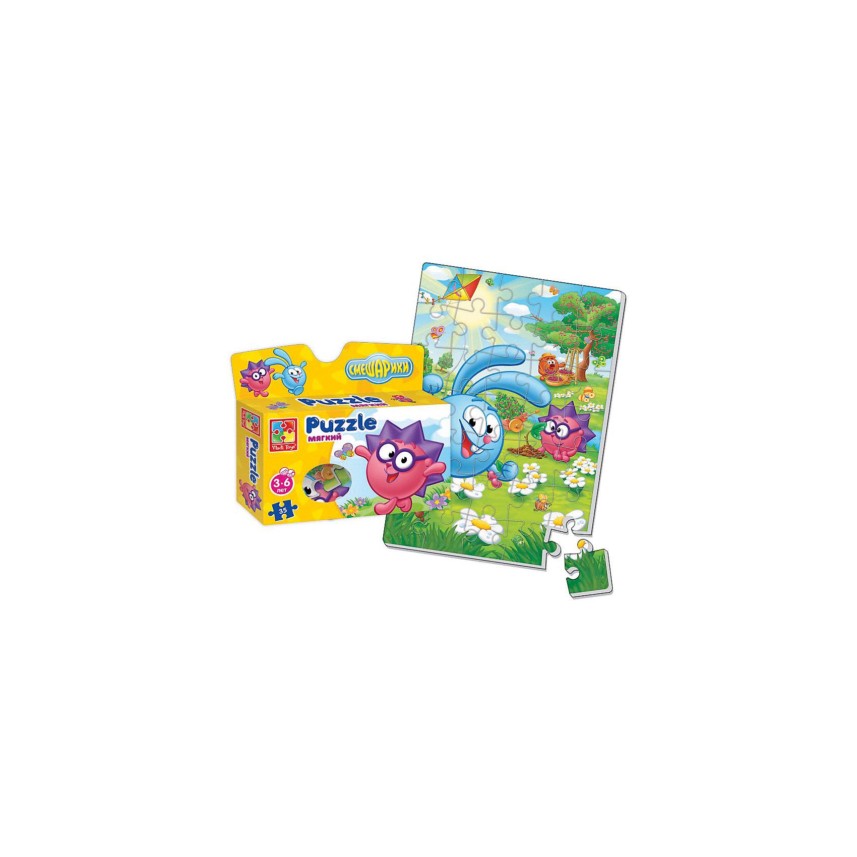 Мягкие пазлы А4 Смешарики, в коробке, Vladi ToysМягкие пазлы<br>Характеристики:<br><br>• Вид игр: развивающие<br>• Серия: пазлы-картинки<br>• Пол: универсальный<br>• Материал: полимер, картон<br>• Цвет: голубой, зеленый, сиреневый, розовый и др.<br>• Комплектация: 1 пазл из 35-ти элементов<br>• Размеры (Д*Ш*В): 19*4,5*22 см<br>• Тип упаковки: картонная коробка<br>• Вес: 75 г<br><br>Мягкие пазлы А4 Смешарики, в коробке, Vladi Toys, производителем которых является компания, специализирующаяся на выпуске развивающих игр, давно уже стали популярными среди аналогичной продукции. Мягкие пазлы – идеальное решение для развивающих занятий с самыми маленькими детьми, так как они разделены на большие элементы с крупными изображениями, чаще всего в качестве картинок используются герои популярных мультсериалов. Самое важное в пазле для малышей – это минимум деталей и безопасность элементов. Все используемые в производстве материалы являются экологически безопасными, не вызывают аллергии, не имеют запаха. Пазл А4 Смешарики, в коробке, Vladi Toys, представляет собой сюжетную картинку размером А4, которая состоит из 35-и крупных элементов с изображением Кроша, Ежика и Копатыча на цветочной поляне из мультфильма Смешарики. <br>Занятия с мягкими пазлами от Vladi Toys способствуют развитию не только мелкой моторики, но и внимательности, усидчивости, терпению при достижении цели. Кроме того, по собранной картинке можно составлять рассказ, что позволит развивать речевые навыки, память и воображение.<br><br>Мягкие пазлы А4 Смешарики, в коробке, Vladi Toys, можно купить в нашем интернет-магазине.<br><br>Ширина мм: 190<br>Глубина мм: 45<br>Высота мм: 220<br>Вес г: 75<br>Возраст от месяцев: 24<br>Возраст до месяцев: 60<br>Пол: Унисекс<br>Возраст: Детский<br>SKU: 5136083