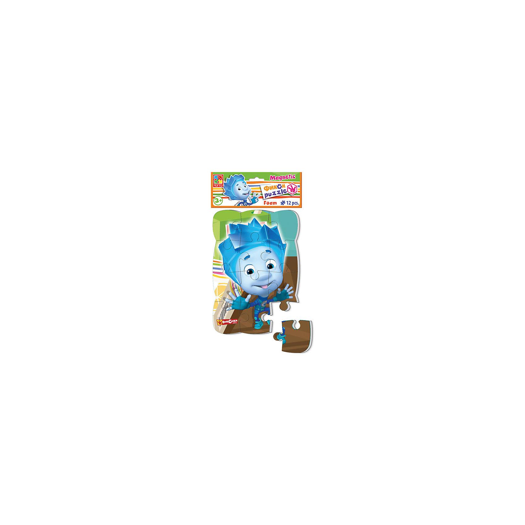 Пазлы на магните Нолик, Фиксики, Vladi ToysПопулярные игрушки<br>Характеристики:<br><br>• Вид игр: развивающие<br>• Серия: пазлы-магниты<br>• Пол: универсальный<br>• Материал: полимер, картон, магнит<br>• Цвет: голубой, коричневый, зеленый, и др.<br>• Комплектация: 1 пазл из 12-ти элементов<br>• Размеры (Д*Ш*В): 18*4*30,5 см<br>• Тип упаковки: полиэтиленовый пакет с картонным клапаном <br>• Вес: 73 г<br><br>Пазлы на магните Нолик, Фиксики, Vladi Toys, производителем которых является компания, специализирующаяся на выпуске развивающих игр, давно уже стали популярными среди аналогичной продукции. Мягкие пазлы – идеальное решение для развивающих занятий с самыми маленькими детьми, так как они разделены на большие элементы с крупными изображениями, чаще всего в качестве картинок используются герои популярных мультсериалов. Самое важное в пазле для малышей – это минимум деталей и безопасность элементов. Все используемые в производстве материалы являются экологически безопасными, не вызывают аллергии, не имеют запаха. Пазлы на магните Нолик, Фиксики, Vladi Toys представляет собой сюжетную картинку, которая состоит из 12-и крупных элементов с изображением Нолика. <br>Занятия с мягкими пазлами от Vladi Toys способствуют развитию не только мелкой моторики, но и внимательности, усидчивости, терпению при достижении цели. Кроме того, по собранной картинке можно составлять рассказ, что позволит развивать речевые навыки, память и воображение.<br><br>Пазлы на магните Нолик, Фиксики, Vladi Toys можно купить в нашем интернет-магазине.<br><br>Ширина мм: 180<br>Глубина мм: 4<br>Высота мм: 305<br>Вес г: 73<br>Возраст от месяцев: 24<br>Возраст до месяцев: 60<br>Пол: Унисекс<br>Возраст: Детский<br>SKU: 5136086