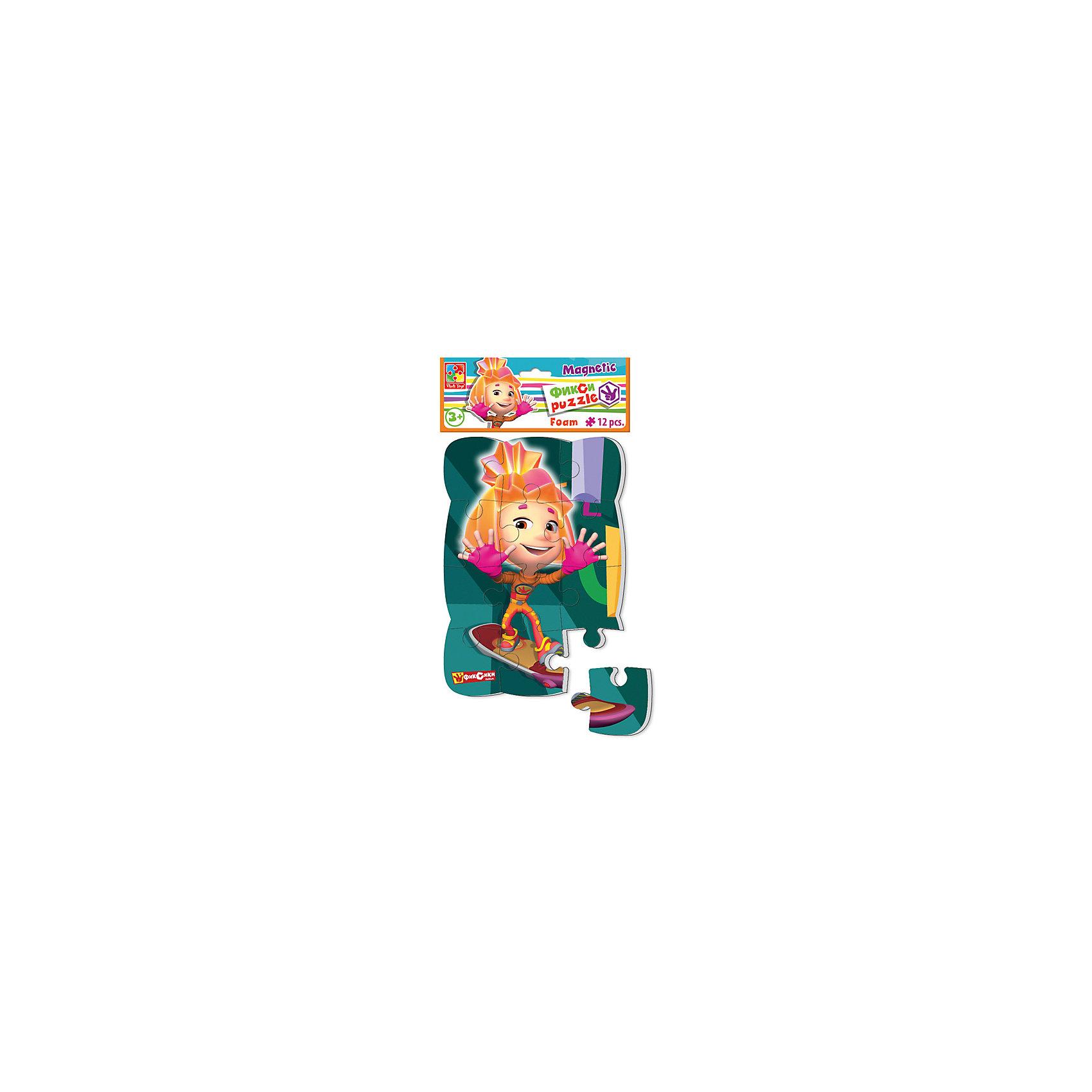 Пазлы на магните Симка, Фиксики, Vladi ToysКоличество деталей<br>Характеристики:<br><br>• Вид игр: развивающие<br>• Серия: пазлы-магниты<br>• Пол: универсальный<br>• Материал: полимер, картон, магнит<br>• Цвет: розовый, оранжевый, зеленый, и др.<br>• Комплектация: 1 пазл из 12-ти элементов<br>• Размеры (Д*Ш*В): 18*4*30,5 см<br>• Тип упаковки: полиэтиленовый пакет с картонным клапаном <br>• Вес: 73 г<br><br>Пазлы на магните Симка, Фиксики, Vladi Toys, производителем которых является компания, специализирующаяся на выпуске развивающих игр, давно уже стали популярными среди аналогичной продукции. Мягкие пазлы – идеальное решение для развивающих занятий с самыми маленькими детьми, так как они разделены на большие элементы с крупными изображениями, чаще всего в качестве картинок используются герои популярных мультсериалов. Самое важное в пазле для малышей – это минимум деталей и безопасность элементов. Все используемые в производстве материалы являются экологически безопасными, не вызывают аллергии, не имеют запаха. Пазлы на магните Симка, Фиксики, Vladi Toys представляет собой сюжетную картинку, которая состоит из 12-и крупных элементов с изображением Симки. <br>Занятия с мягкими пазлами от Vladi Toys способствуют развитию не только мелкой моторики, но и внимательности, усидчивости, терпению при достижении цели. Кроме того, по собранной картинке можно составлять рассказ, что позволит развивать речевые навыки, память и воображение.<br><br>Пазлы на магните Симка, Фиксики, Vladi Toys можно купить в нашем интернет-магазине.<br><br>Ширина мм: 180<br>Глубина мм: 4<br>Высота мм: 305<br>Вес г: 73<br>Возраст от месяцев: 24<br>Возраст до месяцев: 60<br>Пол: Унисекс<br>Возраст: Детский<br>SKU: 5136087