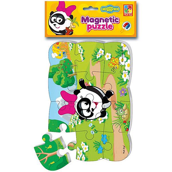 Пазлы на магните Панди, Смешарики, Vladi ToysПазлы для малышей<br>Характеристики:<br><br>• Вид игр: развивающие<br>• Серия: пазлы-магниты<br>• Пол: универсальный<br>• Материал: полимер, картон, магнит<br>• Цвет: розовый, черный, белый, зеленый, коричневый и др.<br>• Комплектация: 1 пазл из 13-ти элементов<br>• Размеры (Д*Ш*В): 18*4*30,5 см<br>• Тип упаковки: полиэтиленовый пакет с картонным клапаном <br>• Вес: 65 г<br><br>Пазлы на магните Панди, Смешарики, Vladi Toys, производителем которых является компания, специализирующаяся на выпуске развивающих игр, давно уже стали популярными среди аналогичной продукции. Мягкие пазлы – идеальное решение для развивающих занятий с самыми маленькими детьми, так как они разделены на большие элементы с крупными изображениями, чаще всего в качестве картинок используются герои популярных мультсериалов. Самое важное в пазле для малышей – это минимум деталей и безопасность элементов. Все используемые в производстве материалы являются экологически безопасными, не вызывают аллергии, не имеют запаха. Пазлы на магните Панди, Смешарики, Vladi Toys представляет собой сюжетную картинку, которая состоит из 13-и крупных элементов с изображением Панди. <br>Занятия с мягкими пазлами от Vladi Toys способствуют развитию не только мелкой моторики, но и внимательности, усидчивости, терпению при достижении цели. Кроме того, по собранной картинке можно составлять рассказ, что позволит развивать речевые навыки, память и воображение.<br><br>Пазлы на магните Панди, Смешарики, Vladi Toys можно купить в нашем интернет-магазине.<br><br>Ширина мм: 180<br>Глубина мм: 4<br>Высота мм: 305<br>Вес г: 65<br>Возраст от месяцев: 24<br>Возраст до месяцев: 60<br>Пол: Унисекс<br>Возраст: Детский<br>SKU: 5136088