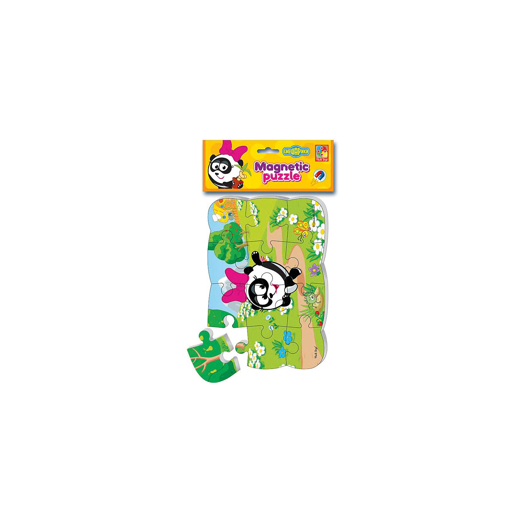 Пазлы на магните Панди, Смешарики, Vladi ToysСмешарики<br>Характеристики:<br><br>• Вид игр: развивающие<br>• Серия: пазлы-магниты<br>• Пол: универсальный<br>• Материал: полимер, картон, магнит<br>• Цвет: розовый, черный, белый, зеленый, коричневый и др.<br>• Комплектация: 1 пазл из 13-ти элементов<br>• Размеры (Д*Ш*В): 18*4*30,5 см<br>• Тип упаковки: полиэтиленовый пакет с картонным клапаном <br>• Вес: 65 г<br><br>Пазлы на магните Панди, Смешарики, Vladi Toys, производителем которых является компания, специализирующаяся на выпуске развивающих игр, давно уже стали популярными среди аналогичной продукции. Мягкие пазлы – идеальное решение для развивающих занятий с самыми маленькими детьми, так как они разделены на большие элементы с крупными изображениями, чаще всего в качестве картинок используются герои популярных мультсериалов. Самое важное в пазле для малышей – это минимум деталей и безопасность элементов. Все используемые в производстве материалы являются экологически безопасными, не вызывают аллергии, не имеют запаха. Пазлы на магните Панди, Смешарики, Vladi Toys представляет собой сюжетную картинку, которая состоит из 13-и крупных элементов с изображением Панди. <br>Занятия с мягкими пазлами от Vladi Toys способствуют развитию не только мелкой моторики, но и внимательности, усидчивости, терпению при достижении цели. Кроме того, по собранной картинке можно составлять рассказ, что позволит развивать речевые навыки, память и воображение.<br><br>Пазлы на магните Панди, Смешарики, Vladi Toys можно купить в нашем интернет-магазине.<br><br>Ширина мм: 180<br>Глубина мм: 4<br>Высота мм: 305<br>Вес г: 65<br>Возраст от месяцев: 24<br>Возраст до месяцев: 60<br>Пол: Унисекс<br>Возраст: Детский<br>SKU: 5136088