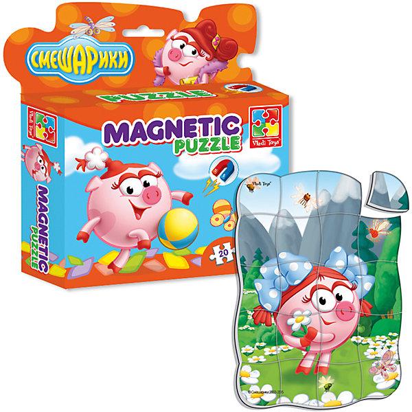 Магнитные фигурные пазлы Нюша, Смешарики, Vladi ToysСмешарики<br>Характеристики:<br><br>• Вид игр: развивающие<br>• Серия: пазлы-магниты<br>• Пол: универсальный<br>• Материал: полимер, картон, магнит<br>• Цвет: розовый, белый, зеленый, голубой и др.<br>• Комплектация: 1 пазл из 20-ти элементов<br>• Размеры (Д*Ш*В): 16,5*4*19,5 см<br>• Тип упаковки: картонная коробка <br>• Вес: 94 г<br><br>Пазлы на магните Нюша, Смешарики, Vladi Toys, производителем которых является компания, специализирующаяся на выпуске развивающих игр, давно уже стали популярными среди аналогичной продукции. Мягкие пазлы – идеальное решение для развивающих занятий с самыми маленькими детьми, так как они разделены на большие элементы с крупными изображениями, чаще всего в качестве картинок используются герои популярных мультсериалов. Самое важное в пазле для малышей – это минимум деталей и безопасность элементов. Все используемые в производстве материалы являются экологически безопасными, не вызывают аллергии, не имеют запаха. Пазлы на магните Нюша, Смешарики, Vladi Toys представляет собой сюжетную картинку, которая состоит из 20-и магнитных элементов с изображением Нюши на фоне гор. <br>Занятия с мягкими пазлами от Vladi Toys способствуют развитию не только мелкой моторики, но и внимательности, усидчивости, терпению при достижении цели. Кроме того, по собранной картинке можно составлять рассказ, что позволит развивать речевые навыки, память и воображение.<br><br>Пазлы на магните Нюша, Смешарики, Vladi Toys можно купить в нашем интернет-магазине.<br>Ширина мм: 165; Глубина мм: 45; Высота мм: 195; Вес г: 94; Возраст от месяцев: 24; Возраст до месяцев: 60; Пол: Унисекс; Возраст: Детский; SKU: 5136091;