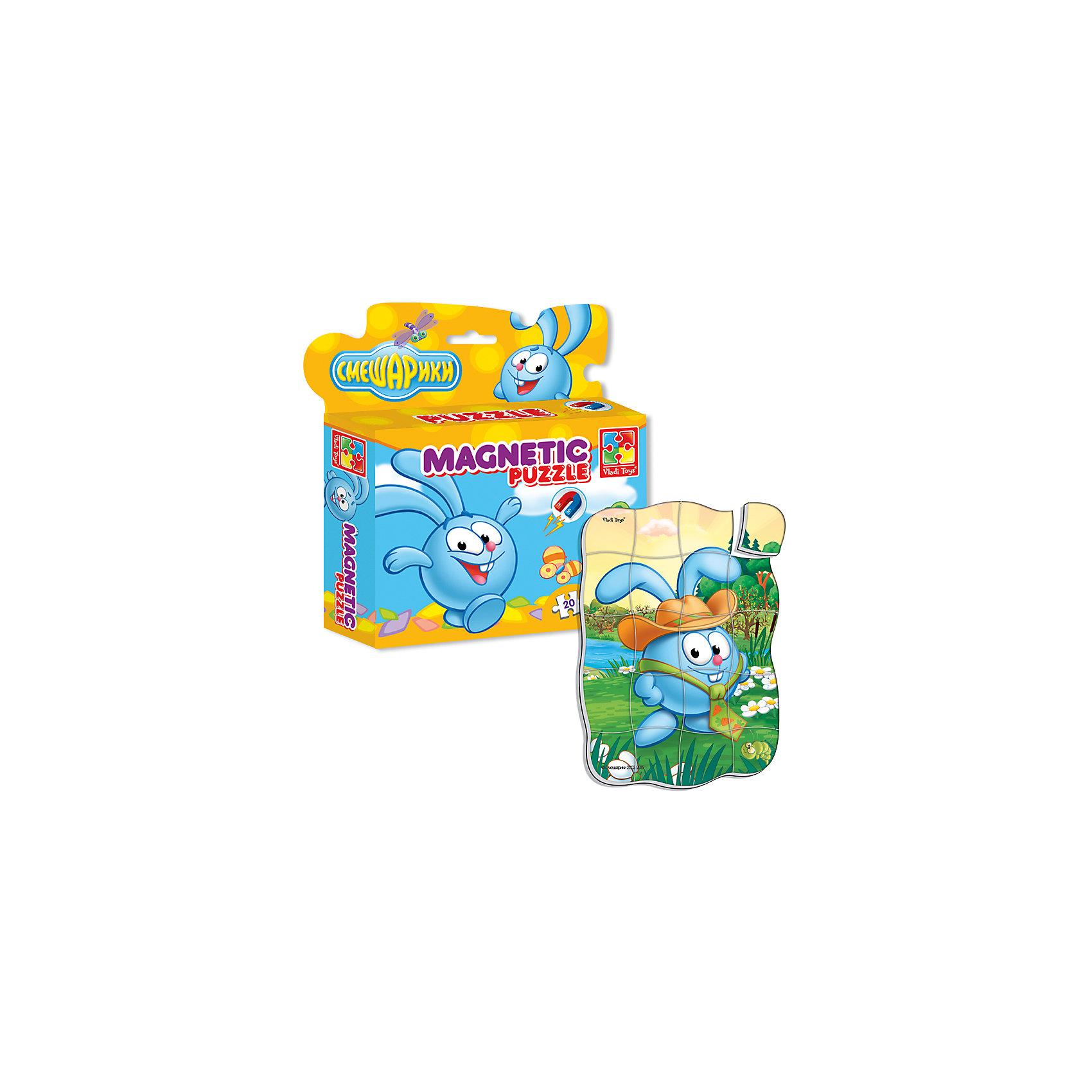 Магнитные фигурные пазлы Крош, Смешарики, Vladi ToysПазлы для малышей<br>Характеристики:<br><br>• Вид игр: развивающие<br>• Серия: пазлы-магниты<br>• Пол: универсальный<br>• Материал: полимер, картон, магнит<br>• Цвет:голубой, белый, зеленый, коричневый и др.<br>• Комплектация: 1 пазл из 20-ти элементов<br>• Размеры (Д*Ш*В): 16,5*4*19,5 см<br>• Тип упаковки: картонная коробка <br>• Вес: 94 г<br><br>Пазлы на магните Крош, Смешарики, Vladi Toys, производителем которых является компания, специализирующаяся на выпуске развивающих игр, давно уже стали популярными среди аналогичной продукции. Мягкие пазлы – идеальное решение для развивающих занятий с самыми маленькими детьми, так как они разделены на большие элементы с крупными изображениями, чаще всего в качестве картинок используются герои популярных мультсериалов. Самое важное в пазле для малышей – это минимум деталей и безопасность элементов. Все используемые в производстве материалы являются экологически безопасными, не вызывают аллергии, не имеют запаха. Пазлы на магните Крош, Смешарики, Vladi Toys представляет собой сюжетную картинку, которая состоит из 20-и магнитных элементов с изображением Кроша в шляпе. <br>Занятия с мягкими пазлами от Vladi Toys способствуют развитию не только мелкой моторики, но и внимательности, усидчивости, терпению при достижении цели. Кроме того, по собранной картинке можно составлять рассказ, что позволит развивать речевые навыки, память и воображение.<br><br>Пазлы на магните Крош, Смешарики, Vladi Toys можно купить в нашем интернет-магазине.<br><br>Ширина мм: 165<br>Глубина мм: 45<br>Высота мм: 195<br>Вес г: 94<br>Возраст от месяцев: 24<br>Возраст до месяцев: 60<br>Пол: Унисекс<br>Возраст: Детский<br>SKU: 5136092