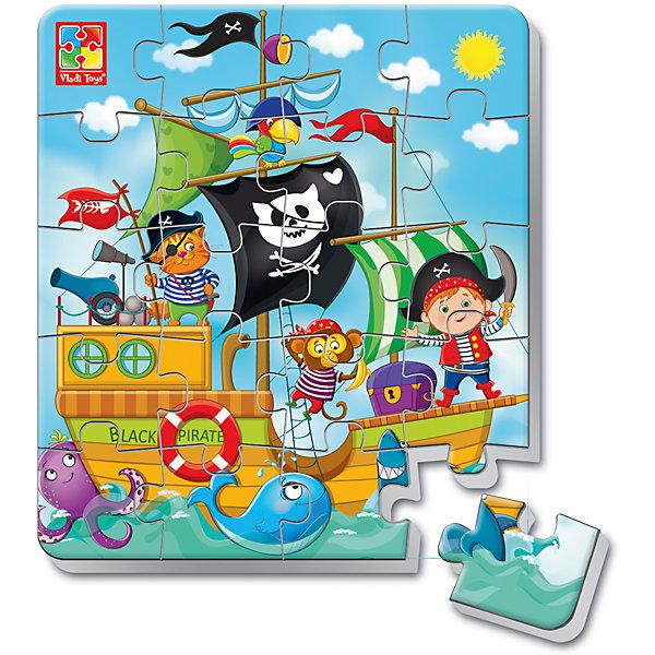 Мягкие магнитные пазлы в стакане  Пираты, Vladi ToysПазлы для малышей<br>Характеристики:<br><br>• Вид игр: развивающие<br>• Серия: пазлы-магниты<br>• Пол: для мальчиков<br>• Материал: полимер, картон, магнит<br>• Цвет: голубой, черный, белый, желтый и др.<br>• Комплектация: 1 пазл из 20-ти элементов, магнит<br>• Размеры (Д*Ш*В): 7,5*7,5*11 см<br>• Тип упаковки: пластиковый стаканчик<br>• Вес: 37 г<br><br>Мягкие магнитные пазлы в стакане Пираты, Vladi Toys, производителем которых является компания, специализирующаяся на выпуске развивающих игр, давно уже стали популярными среди аналогичной продукции. Мягкие пазлы – идеальное решение для развивающих занятий с самыми маленькими детьми, так как они разделены на большие элементы с крупными изображениями, чаще всего в качестве картинок используются герои популярных мультсериалов. Самое важное в пазле для малышей – это минимум деталей и безопасность элементов. Все используемые в производстве материалы являются экологически безопасными, не вызывают аллергии, не имеют запаха. Мягкие магнитные пазлы в стакане Пираты, Vladi Toys представляют собой сюжетную картинку, которая состоит из 20-и магнитных элементов с изображением пиратского корабля с пиратами. <br>Занятия с мягкими пазлами от Vladi Toys способствуют развитию не только мелкой моторики, но и внимательности, усидчивости, терпению при достижении цели. Кроме того, по собранной картинке можно составлять рассказ, что позволит развивать речевые навыки, память и воображение.<br><br>Мягкие магнитные пазлы в стакане Пираты, Vladi Toys можно купить в нашем интернет-магазине.<br>Ширина мм: 75; Глубина мм: 75; Высота мм: 110; Вес г: 37; Возраст от месяцев: 24; Возраст до месяцев: 60; Пол: Унисекс; Возраст: Детский; SKU: 5136100;