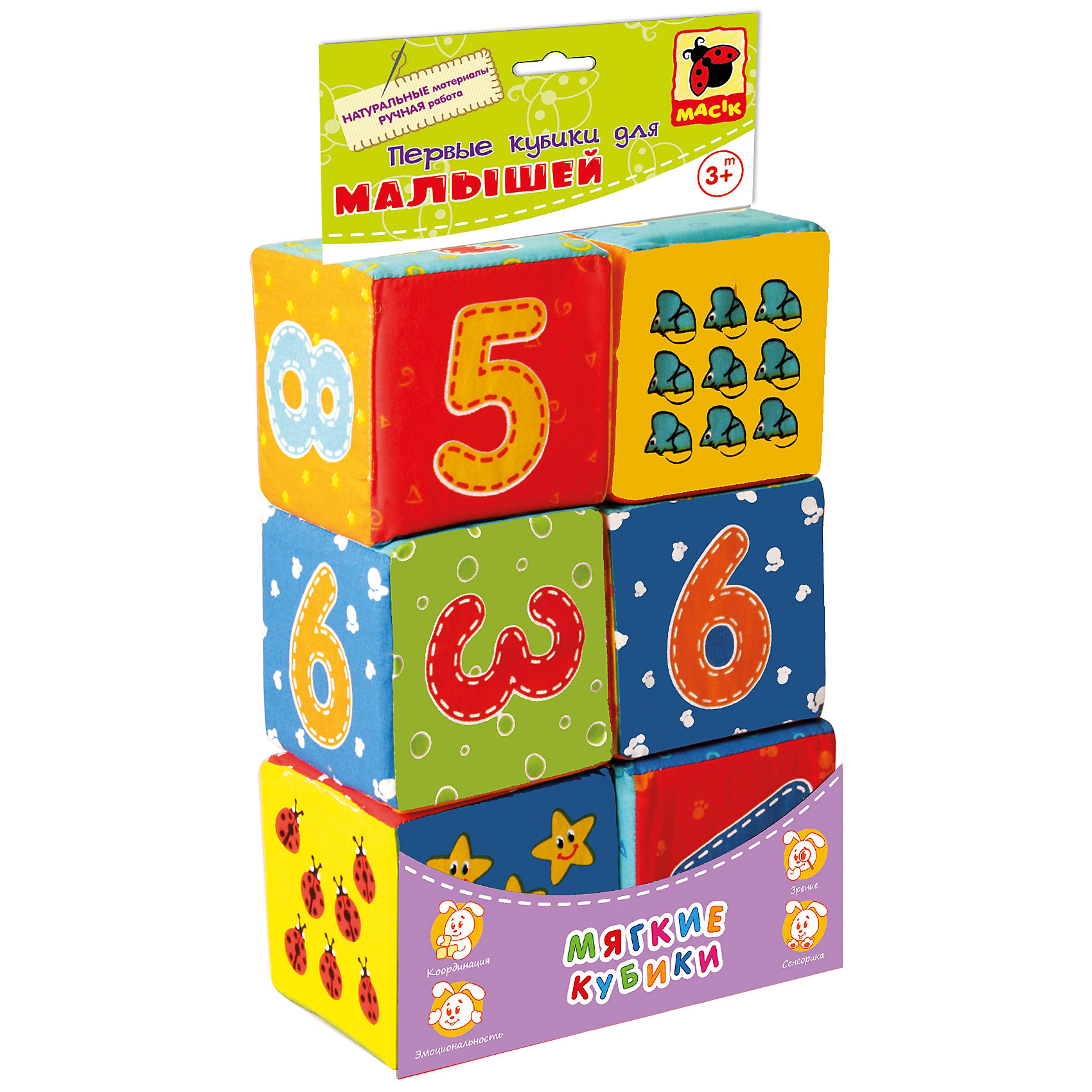 Набор мягких кубиков Цифры, Мылышок, Vladi ToysХарактеристики:<br><br>• Вид игр: развивающие, конструирование<br>• Серия: Малышок<br>• Пол: универсальный<br>• Материал: текстиль<br>• Цвет: голубой, красный, оранжевый, зеленый, желтый и др.<br>• Комплектация: 6 кубиков, инструкция<br>• Размеры (Д*Ш*В): 33*8,5*16,5 см<br>• Тип упаковки: полиэтиленовый пакет с картонным клапаном<br>• Вес в упаковке: 110 г<br>• Предусмотрено несколько вариантов игр<br>• Возможность вариации заданий по сложности <br>• Особенности ухода: разрешается сухая чистка и машинная стирка на щадящем режиме без использования красящих и отбеливающих веществ<br><br>Набор мягких кубиков Цифры, Vladi Toys, производителем которых является компания, специализирующаяся на выпуске развивающих игр, давно уже стали популярными среди аналогичной продукции. Мягкие кубики – идеальное решение для развивающих занятий с самыми маленькими детьми, так как они абсолютно безопасны, окрашены в яркие цвета и сочетают в себе возможности для различных игр: от построения башенки или пирамидки до освоения цифр и счета. Все используемые в производстве материалы являются экологически безопасными, не вызывают аллергии, не имеют запаха. У каждого кубика разноцветные грани, на которых нанесены яркими красками крупные изображения цифр, картинок и математических знаков. Игры с такими кубиками предусматривают несколько вариантов заданий, с различной степенью сложности. Что не маловажно: кубики можно стирать или чистить, при этом они не деформируются и не теряют цвет, при условии соблюдения инструкций по их уходу.<br>Занятия с мягкими кубиками от Vladi Toys способствуют развитию мелкой моторики, внимательности, усидчивости. Набор может использоваться в качестве наглядного пособия для формирования первых представлений о математике.<br><br>Набор мягких кубиков Цифры, Vladi Toys можно купить в нашем интернет-магазине.<br><br>Ширина мм: 330<br>Глубина мм: 85<br>Высота мм: 165<br>Вес г: 110<br>Возраст от месяцев: 12<br>Возраст до месяцев