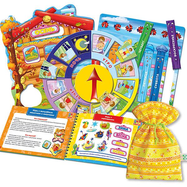 Настольная игра Больше чем Календарь для малыша, Vladi ToysОбучающие игры для дошкольников<br>Характеристики:<br><br>• Вид игр: обучающие, развивающие<br>• Серия: Настольные игры<br>• Пол: универсальный<br>• Материал: картон, пластик, текстиль, магнит<br>• Цвет: голубой, красный, оранжевый, зеленый, желтый и др.<br>• Комплектация: 4 двусторонних игровых поля, 20 картинок, 48 липучек, игровой кубик, методическое пособие с заданиями, текстильный мешочек<br>• Размеры упаковки (Д*Ш*В): 39,5*7,3*30 см<br>• Тип упаковки: картонный чемоданчик<br>• Вес в упаковке: 870 г<br>• Предусмотрено несколько вариантов игр<br>• Возможность вариации заданий по сложности <br><br>Настольная игра Больше чем Календарь для малыша, Vladi Toys, производителем которых является компания, специализирующаяся на выпуске развивающих игр, давно уже стали популярными среди аналогичной продукции. Развивающие настольные игры являются эффективным способом развития и обучения ребенка. Игра Больше чем Календарь для малыша отличается комплексным подходом к подготовке ребенка к школе: в ней предусмотрены игры и задания разного уровня сложности. Все элементы отличаются яркостью красок и наглядностью. Все используемые в производстве материалы являются экологически безопасными, не вызывают аллергии, не имеют запаха. Набор состоит из 4 двухсторонних игровых поля, 20 деталей, 48 липучек с мешочком для их хранения и декоративных наклеек. В комплекте предусмотрено пособие с разноуровневыми заданиями с главным героем динозавриком Тимой.<br>Занятия с настольной игрой Больше чем Календарь для малыша, Vladi Toys позволят в легкой игровой форме познакомиться ребенку с окружающим миром и разнообразием природных явлений, расширив тем самым свой кругозор и словарных запас слов.<br><br>Настольную игру Больше чем Календарь для малыша, Vladi Toys можно купить в нашем интернет-магазине.<br>Ширина мм: 395; Глубина мм: 73; Высота мм: 300; Вес г: 870; Возраст от месяцев: 24; Возраст до месяцев: 84; Пол: Унисекс; Возраст: Детский