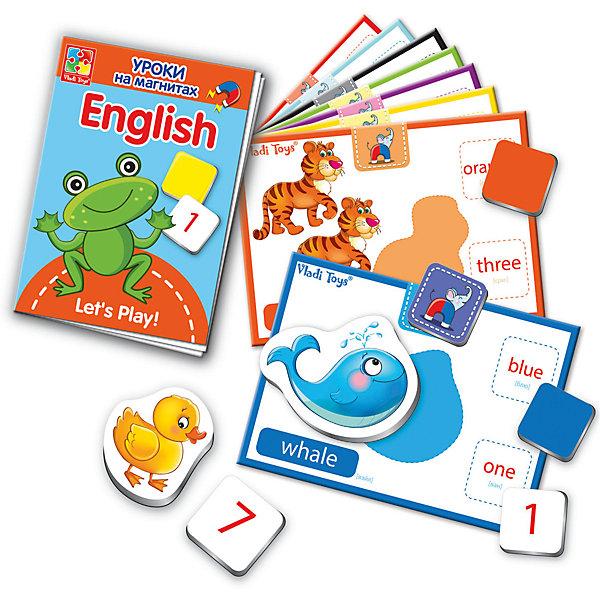 Уроки на магнитах English Животные, Vladi ToysИгры мемо<br>Характеристики:<br><br>• Вид игр: обучающие, развивающие<br>• Серия: обучающие магниты<br>• Пол: универсальный<br>• Материал: картон, магнит<br>• Цвет: голубой, красный, оранжевый, зеленый, желтый и др.<br>• Комплектация: 32 мягких магнитов, 10 карточек с заданиями, брошюра-пособие<br>• Размеры упаковки (Д*Ш*В): 16*6*19,5 см<br>• Тип упаковки: картонная коробка<br>• Вес в упаковке: 544 г<br>• Предусмотрено несколько вариантов игр<br>• Возможность вариации заданий по сложности <br><br>Уроки на магнитах English Животные, Vladi Toys, производителем которых является компания, специализирующаяся на выпуске развивающих игр, давно уже стали популярными среди аналогичной продукции. Уроки на магнитах English Животные, Vladi Toys отличаются комплексным подходом к освоению иностранного языка: в них предусмотрены игры и задания разного уровня сложности на три тематические темы: животные, цвета и цифры. Все магниты-карточки отличаются яркостью красок и наглядностью. При производстве карточек использованы только экологически безопасные материалы, которые не вызывают аллергии и не имеют запаха. Набор состоит из 32 магнитов, 10 карточек с заданиями. В комплекте предусмотрено пособие с разноуровневыми заданиями.<br>Занятия с уроками на магнитах English Животные, Vladi Toys позволят в легкой игровой форме выучить английские названия животных, цветов и цифр.<br><br>Уроки на магнитах English Животные, Vladi Toys можно купить в нашем интернет-магазине.<br>Ширина мм: 160; Глубина мм: 60; Высота мм: 195; Вес г: 544; Возраст от месяцев: 24; Возраст до месяцев: 84; Пол: Унисекс; Возраст: Детский; SKU: 5136108;