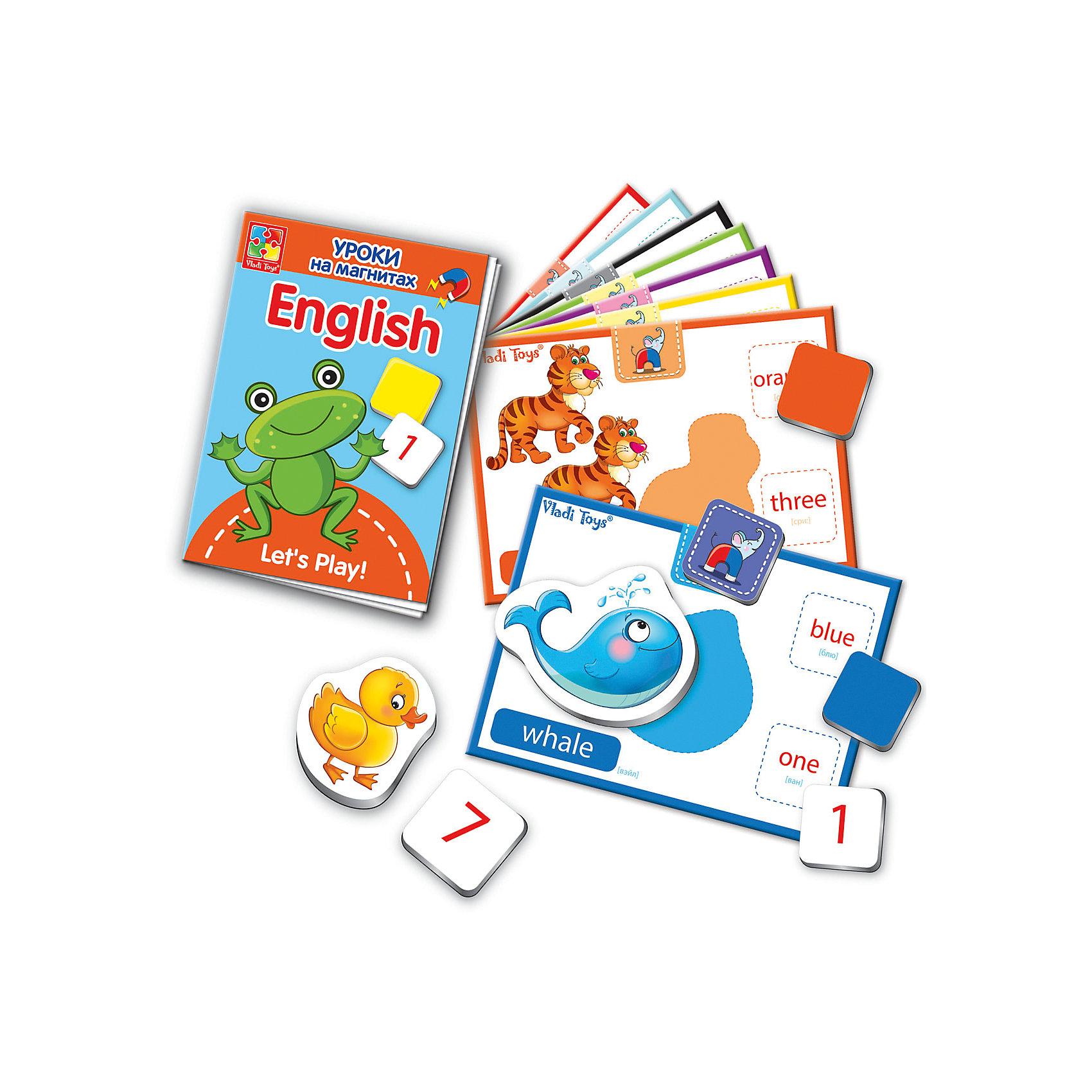 Уроки на магнитах English Животные, Vladi ToysХарактеристики:<br><br>• Вид игр: обучающие, развивающие<br>• Серия: обучающие магниты<br>• Пол: универсальный<br>• Материал: картон, магнит<br>• Цвет: голубой, красный, оранжевый, зеленый, желтый и др.<br>• Комплектация: 32 мягких магнитов, 10 карточек с заданиями, брошюра-пособие<br>• Размеры упаковки (Д*Ш*В): 16*6*19,5 см<br>• Тип упаковки: картонная коробка<br>• Вес в упаковке: 544 г<br>• Предусмотрено несколько вариантов игр<br>• Возможность вариации заданий по сложности <br><br>Уроки на магнитах English Животные, Vladi Toys, производителем которых является компания, специализирующаяся на выпуске развивающих игр, давно уже стали популярными среди аналогичной продукции. Уроки на магнитах English Животные, Vladi Toys отличаются комплексным подходом к освоению иностранного языка: в них предусмотрены игры и задания разного уровня сложности на три тематические темы: животные, цвета и цифры. Все магниты-карточки отличаются яркостью красок и наглядностью. При производстве карточек использованы только экологически безопасные материалы, которые не вызывают аллергии и не имеют запаха. Набор состоит из 32 магнитов, 10 карточек с заданиями. В комплекте предусмотрено пособие с разноуровневыми заданиями.<br>Занятия с уроками на магнитах English Животные, Vladi Toys позволят в легкой игровой форме выучить английские названия животных, цветов и цифр.<br><br>Уроки на магнитах English Животные, Vladi Toys можно купить в нашем интернет-магазине.<br><br>Ширина мм: 160<br>Глубина мм: 60<br>Высота мм: 195<br>Вес г: 544<br>Возраст от месяцев: 24<br>Возраст до месяцев: 84<br>Пол: Унисекс<br>Возраст: Детский<br>SKU: 5136108