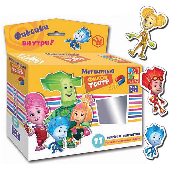 Магнитный театр  Фиксики , Vladi ToysПопулярные игрушки<br>Характеристики:<br><br>• Вид игр: обучающие, развивающие<br>• Серия: обучающие магниты<br>• Пол: универсальный<br>• Материал: картон, магнит<br>• Цвет: голубой, оранжевый, розовый, зеленый, желтый и др.<br>• Комплектация: 10 магнитов, сценарий сказки<br>• Размеры упаковки (Д*Ш*В): 16,5*4,5*19 см<br>• Тип упаковки: картонная коробка<br>• Вес в упаковке: 110 г<br><br>Магнитный театр Фиксики, Vladi Toys, производителем которых является компания, специализирующаяся на выпуске развивающих игр, давно уже стали популярными среди аналогичной продукции. Театральные постановки в детских играх – это залог его творческого развития ребенка. При производстве карточек использованы только экологически безопасные материалы, которые не вызывают аллергии и не имеют запаха. Магнитный театр Фиксики состоит из 10 ярких персонажей-картинок, которые позволят воспроизвести любимые сюжеты из популярного мультфильма. В комплекте предусмотрен сценарий одной сказки.<br>Игры Магнитный театр Фиксики, Vladi Toys позволят вашему ребенку развивать связную речь, обогащать словарный запас и постигать актерское искусство не выходя из дома!<br><br>Магнитный театр Фиксики, Vladi Toys можно купить в нашем интернет-магазине.<br><br>Ширина мм: 165<br>Глубина мм: 45<br>Высота мм: 190<br>Вес г: 110<br>Возраст от месяцев: 24<br>Возраст до месяцев: 60<br>Пол: Унисекс<br>Возраст: Детский<br>SKU: 5136110