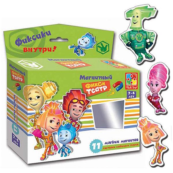Магнитный театр  Фиксики , Vladi ToysПопулярные игрушки<br>Характеристики:<br><br>• Вид игр: обучающие, развивающие<br>• Серия: магнитный театр<br>• Пол: универсальный<br>• Материал: картон, магнит<br>• Цвет: голубой, оранжевый, розовый, зеленый, желтый и др.<br>• Комплектация: 10 магнитов, сценарий сказки<br>• Размеры упаковки (Д*Ш*В): 16,5*4,5*19 см<br>• Тип упаковки: картонная коробка<br>• Вес в упаковке: 110 г<br><br>Магнитный театр Фиксики, Vladi Toys, производителем которых является компания, специализирующаяся на выпуске развивающих игр, давно уже стали популярными среди аналогичной продукции. Театральные постановки в детских играх – это залог его творческого развития ребенка. При производстве карточек использованы только экологически безопасные материалы, которые не вызывают аллергии и не имеют запаха. Магнитный театр Фиксики состоит из 10 ярких персонажей-картинок, которые позволят воспроизвести любимые сюжеты из популярного мультфильма. В комплекте предусмотрен сценарий одной сказки.<br>Игры Магнитный театр Фиксики, Vladi Toys позволят вашему ребенку развивать связную речь, обогащать словарный запас и постигать актерское искусство не выходя из дома!<br><br>Магнитный театр Фиксики, Vladi Toys можно купить в нашем интернет-магазине.<br><br>Ширина мм: 165<br>Глубина мм: 45<br>Высота мм: 190<br>Вес г: 110<br>Возраст от месяцев: 24<br>Возраст до месяцев: 60<br>Пол: Унисекс<br>Возраст: Детский<br>SKU: 5136111