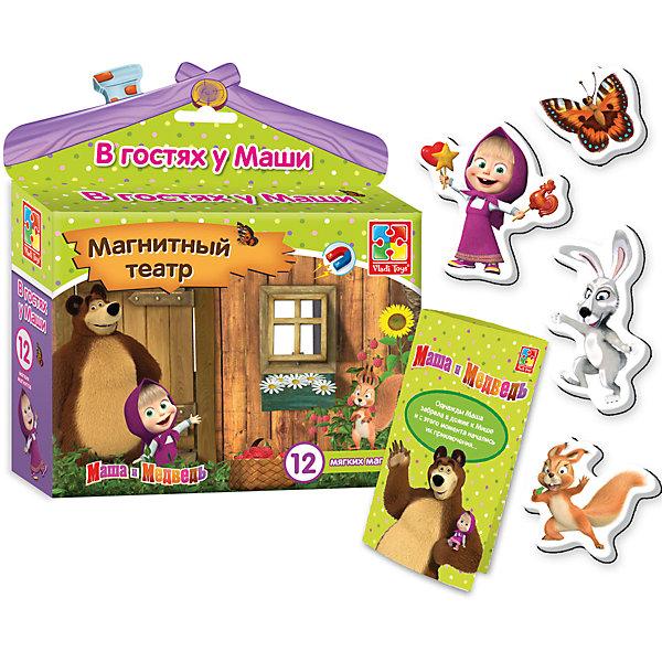 Магнитный театр В гостях у Маши, Маша и Медведь, Vladi ToysНастольные игры для всей семьи<br>Характеристики:<br><br>• Вид игр: обучающие, развивающие<br>• Серия: магнитный театр<br>• Пол: универсальный<br>• Материал: картон, магнит<br>• Цвет: голубой, оранжевый, розовый, зеленый, желтый и др.<br>• Комплектация: 11 магнитов, сценарий сказки<br>• Размеры упаковки (Д*Ш*В): 16,7*4,5*19 см<br>• Тип упаковки: картонная коробка<br>• Вес в упаковке: 118 г<br><br>Магнитный театр В гостях у Маши, Маша и Медведь, Vladi Toys, производителем которых является компания, специализирующаяся на выпуске развивающих игр, давно уже стали популярными среди аналогичной продукции. Театральные постановки в детских играх – это залог его творческого развития ребенка. При производстве карточек использованы только экологически безопасные материалы, которые не вызывают аллергии и не имеют запаха. Магнитный театр Маша и медведь состоит из 10 ярких картинок, которые позволят воспроизвести любимые сюжеты из популярного мультфильма. В комплекте предусмотрен сценарий одной сказки.<br>Игры с магнитным театром В гостях у Маши, Маша и Медведь, Vladi Toys позволят вашему ребенку развивать связную речь, обогащать словарный запас и постигать актерское искусство не выходя из дома!<br><br>Магнитный театр В гостях у Маши, Маша и Медведь можно купить в нашем интернет-магазине.<br><br>Ширина мм: 167<br>Глубина мм: 45<br>Высота мм: 190<br>Вес г: 118<br>Возраст от месяцев: 24<br>Возраст до месяцев: 60<br>Пол: Унисекс<br>Возраст: Детский<br>SKU: 5136113