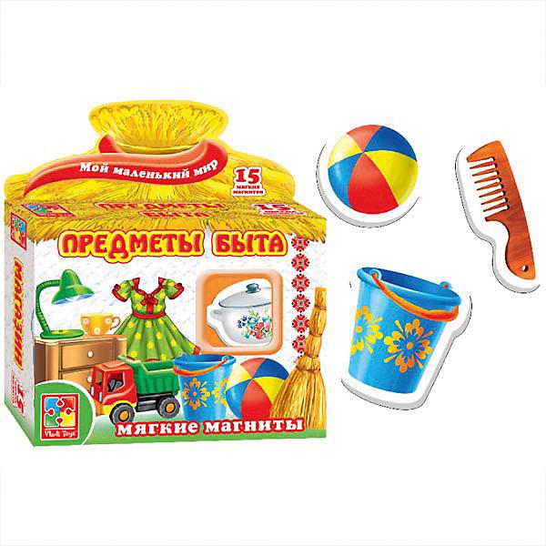 Игра на магнитах Предметы быта, Vladi ToysНастольные игры для всей семьи<br>Характеристики:<br><br>• Вид игр: обучающие, развивающие<br>• Серия: обучающие магниты<br>• Пол: универсальный<br>• Материал: картон, магнит<br>• Цвет: синий, желтый, красный, зеленый, коричневый и др.<br>• Комплектация: 15 магнитов, инструкция<br>• Размеры упаковки (Д*Ш*В): 16,5*4,5*19 см<br>• Тип упаковки: картонная коробка<br>• Вес в упаковке: 95 г<br><br>Игра на магнитах Предметы быта, Vladi Toys, производителем которых является компания, специализирующаяся на выпуске развивающих игр, давно уже стали популярными среди аналогичной продукции. Тематические карточки-магниты являются достаточно эффективным наглядным пособием при изучении новых слов или составлении связного текста. При производстве карточек использованы только экологически безопасные материалы, которые не вызывают аллергии и не имеют запаха. Игра на магнитах Предметы быта, Vladi Toys состоит из 15 ярких картинок, на которых изображены предметы быта наиболее часто встречающиеся в окружении ребенка. В комплекте предусмотрена инструкция.<br>Игра на магнитах Предметы быта, Vladi Toys позволит вашему ребенку развивать связную речь, обогащать словарный запас и учиться классифицировать предметы и явления по группам.<br><br>Игру на магнитах Предметы быта, Vladi Toys можно купить в нашем интернет-магазине.<br><br>Ширина мм: 165<br>Глубина мм: 45<br>Высота мм: 190<br>Вес г: 95<br>Возраст от месяцев: 24<br>Возраст до месяцев: 60<br>Пол: Унисекс<br>Возраст: Детский<br>SKU: 5136115