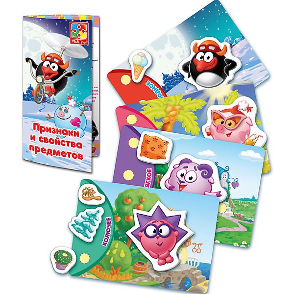 Настольная игра Обучарики: Свойства предметов, с липучками, Vladi ToysОкружающий мир<br>Характеристики:<br><br>• Вид игр: обучающие, развивающие<br>• Серия: Настольные игры<br>• Пол: универсальный<br>• Материал: картон<br>• Цвет: голубой, розовый, красный, оранжевый, зеленый, желтый и др.<br>• Комплектация: 4 игровых поля,16 фигурок на липучках, брошюра с правилами и вариантами игры<br>• Размеры упаковки (Д*Ш*В): 24,5*3,5*19,5 см<br>• Тип упаковки: картонная коробка<br>• Вес в упаковке: 170 г<br>• Предусмотрено несколько вариантов игр<br>• Возможность вариации заданий по сложности <br><br><br>Настольная игра Обучарики: Свойства предметов, с липучками, Vladi Toys, производителем которых является компания, специализирующаяся на выпуске развивающих игр, давно уже стали популярными среди аналогичной продукции. Развивающие настольные игры являются эффективным способом развития и обучения ребенка. При производстве настольных игр от Vladi Toys используются только экологически безопасные материалы, которые не вызывают аллергии и не имеют запаха. Набор состоит из четырех игровых полей с изображением персонажей из сериала Смешарики и 16 предметов на липучках. Все элементы набора отличаются яркостью красок и наглядностью. <br>Настольная игра Обучарики: Свойства предметов, с липучками, Vladi Toys позволят в легкой игровой форме научить вашего ребенка распознавать, группировать и классифицировать предметы и их свойства.<br><br>Настольную игру Обучарики: Свойства предметов, с липучками, Vladi Toys можно купить в нашем интернет-магазине.<br><br>Ширина мм: 245<br>Глубина мм: 35<br>Высота мм: 195<br>Вес г: 170<br>Возраст от месяцев: 24<br>Возраст до месяцев: 84<br>Пол: Унисекс<br>Возраст: Детский<br>SKU: 5136121