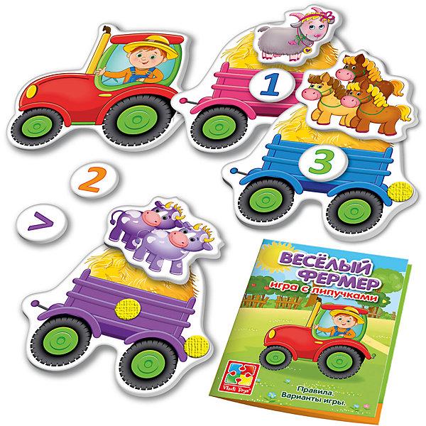 Настольная игра Веселый фермер, с липучками, Vladi ToysОкружающий мир<br>Характеристики:<br><br>• Вид игр: обучающие, развивающие<br>• Серия: Настольные игры<br>• Пол: универсальный<br>• Материал: картон<br>• Цвет: зеленый, черный, желтый, красный и др.<br>• Комплектация: 6 игровых полей, 22 фигурки на липучках, брошюра с правилами и вариантами игры<br>• Размеры упаковки (Д*Ш*В): 18*5*20,5 см<br>• Тип упаковки: картонная коробка<br>• Вес в упаковке: 285 г<br>• Предусмотрено несколько вариантов игр<br>• Возможность вариации заданий по сложности <br><br>Настольная игра Веселый фермер, с липучками, Vladi Toys, производителем которых является компания, специализирующаяся на выпуске развивающих игр, давно уже стали популярными среди аналогичной продукции. Развивающие настольные игры являются эффективным способом развития и обучения ребенка. При производстве настольных игр от Vladi Toys используются только экологически безопасные материалы, которые не вызывают аллергии и не имеют запаха. Набор состоит из шести игровых полей с изображением персонажей и фермерской атрибутики на липучках. Все элементы набора отличаются яркостью красок и наглядностью. <br>Настольная игра Веселый фермер, с липучками, Vladi Toys позволят в легкой игровой форме научить вашего ребенка считать до десяти, сравнивать предметы по количеству, а также расширить словарный запас и кругозор вашего ребенка.<br><br>Настольную игру Веселый фермер, с липучками, Vladi Toys можно купить в нашем интернет-магазине.<br><br>Ширина мм: 180<br>Глубина мм: 50<br>Высота мм: 205<br>Вес г: 285<br>Возраст от месяцев: 24<br>Возраст до месяцев: 84<br>Пол: Унисекс<br>Возраст: Детский<br>SKU: 5136123