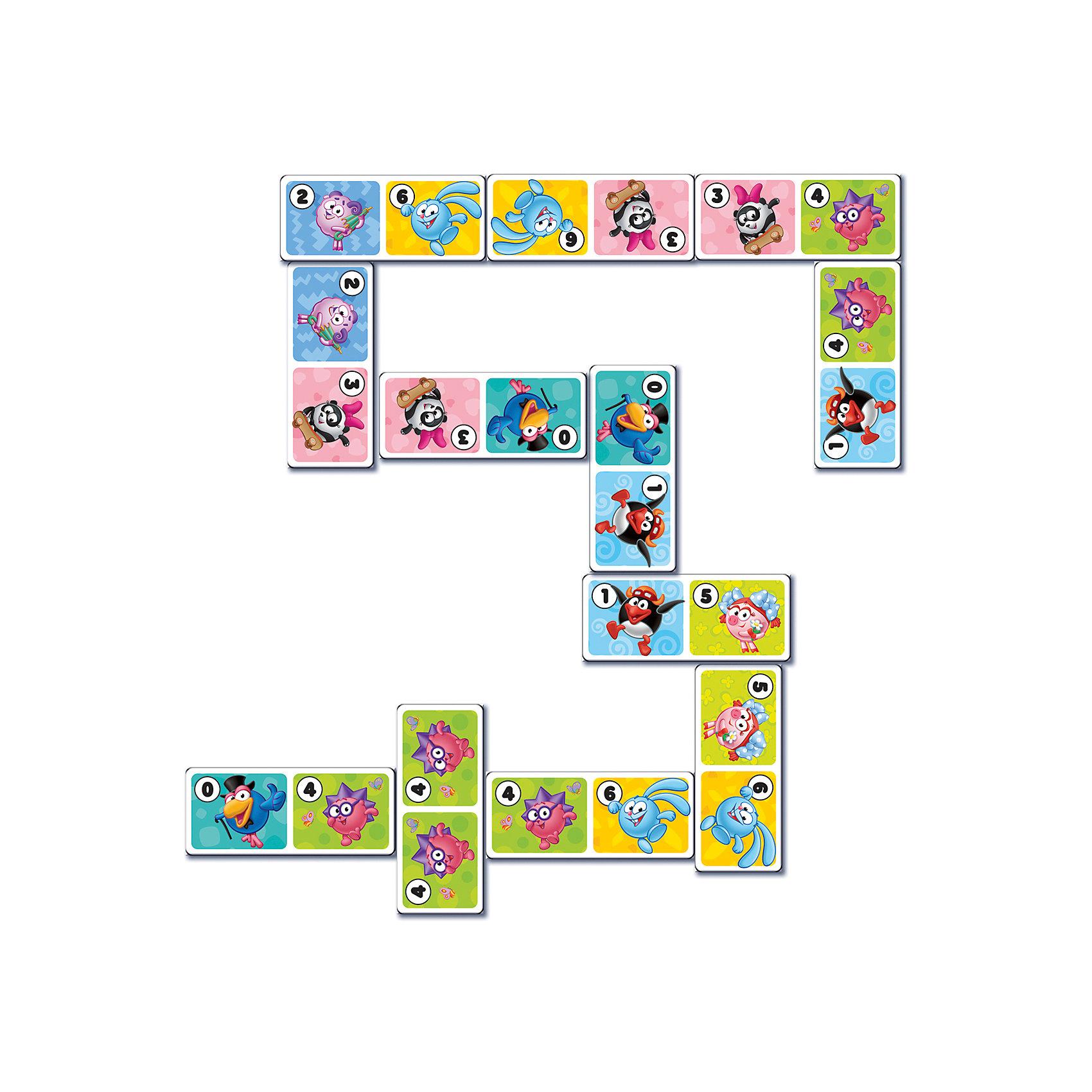 Настольная игра Домино, Смешарики, Vladi ToysХарактеристики:<br><br>• Вид игр: обучающие, развивающие<br>• Серия: настольные игры<br>• Количество игроков: до 4-х человек<br>• Пол: универсальный<br>• Материал: картон<br>• Цвет: голубой, розовый, желтый и др.<br>• Комплектация: 28 элементов домино, инструкция с правилами игры<br>• Размеры упаковки (Д*Ш*В): 19,5*3,6*24 см<br>• Тип упаковки: картонная коробка<br>• Вес в упаковке: 240 г<br><br>Настольная игра Домино, Смешарики, Vladi Toys, производителем которых является компания, специализирующаяся на выпуске развивающих игр, давно уже стали популярными среди аналогичной продукции. Развивающие настольные игры являются эффективным способом развития и обучения ребенка. При производстве настольных игр от Vladi Toys используются только экологически безопасные материалы, которые не вызывают аллергии и не имеют запаха. Набор состоит из фишек-домино с изображением персонажей сериала Смешарики. Все игровые элементы набора отличаются яркостью красок и наглядностью. <br>Настольная игра Домино, Смешарики, Vladi Toys позволит организовать веселый и полезный досуг вашего ребенка, научит внимательности и логическому мышлению, а также будет способствовать развитию памяти.<br><br>Настольную игру Домино, Смешарики, Vladi Toys можно купить в нашем интернет-магазине.<br><br>Ширина мм: 195<br>Глубина мм: 36<br>Высота мм: 240<br>Вес г: 240<br>Возраст от месяцев: 24<br>Возраст до месяцев: 84<br>Пол: Унисекс<br>Возраст: Детский<br>SKU: 5136129