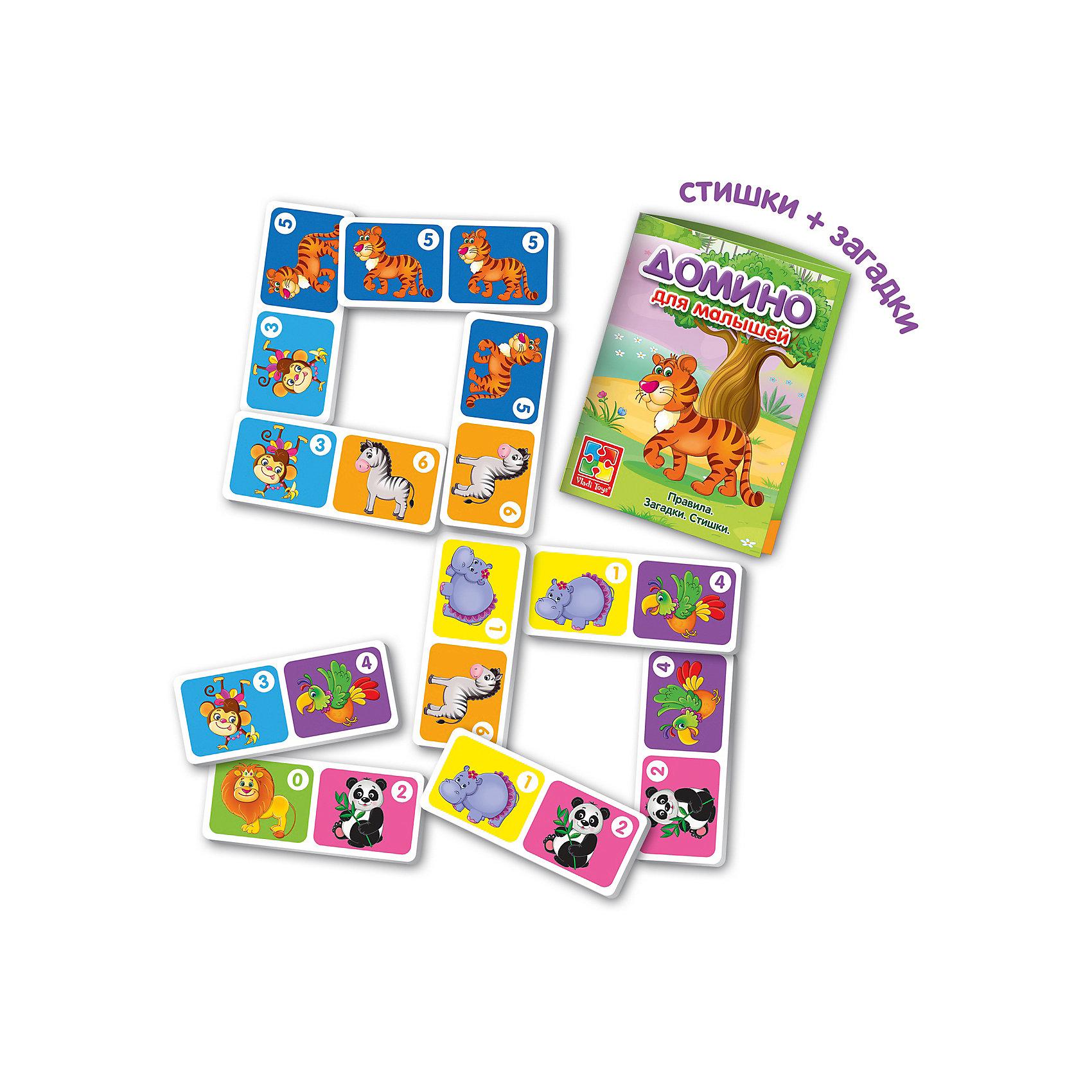 Настольная игра Зоопарк Домино , Vladi ToysДомино<br>Характеристики:<br><br>• Вид игр: обучающие, развивающие<br>• Серия: настольные игры<br>• Количество игроков: до 4-х человек<br>• Пол: универсальный<br>• Материал: картон<br>• Цвет: зеленый, оранжевый и др.<br>• Комплектация: 28 элементов домино, инструкция с правилами игры<br>• Размеры упаковки (Д*Ш*В): 18*5*20,5 см<br>• Тип упаковки: картонная коробка<br>• Вес в упаковке: 253 г<br><br>Настольная игра Зоопарк Домино, Vladi Toys, производителем которых является компания, специализирующаяся на выпуске развивающих игр, давно уже стали популярными среди аналогичной продукции. Развивающие настольные игры являются эффективным способом развития и обучения ребенка. При производстве настольных игр от Vladi Toys используются только экологически безопасные материалы, которые не вызывают аллергии и не имеют запаха. Набор состоит из фишек-домино с изображением животных зоопарка. Все игровые элементы набора отличаются яркостью красок и наглядностью. <br>Настольная игра Зоопарк Домино, Vladi Toys позволит организовать веселый и полезный досуг вашего ребенка, научит внимательности и логическому мышлению, а также будет способствовать развитию памяти.<br><br>Настольную игру Зоопарк Домино, Vladi Toys можно купить в нашем интернет-магазине.<br><br>Ширина мм: 180<br>Глубина мм: 50<br>Высота мм: 205<br>Вес г: 253<br>Возраст от месяцев: 24<br>Возраст до месяцев: 84<br>Пол: Унисекс<br>Возраст: Детский<br>SKU: 5136131