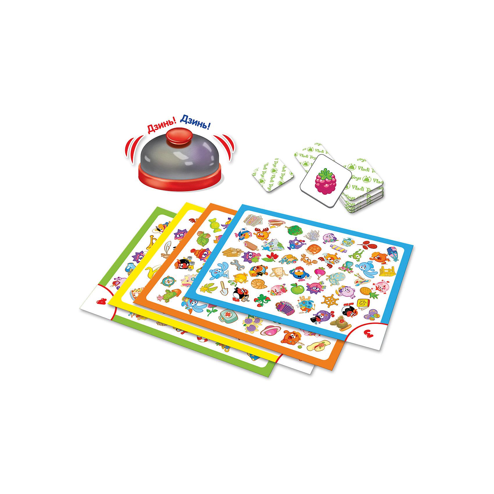 Игра со звонком  Глаз-Алмаз , Vladi ToysИгры для развлечений<br>Характеристики:<br><br>• Вид игр: обучающие, развивающие<br>• Серия: настольные игры<br>• Пол: универсальный<br>• Материал: картон<br>• Цвет: желтый, оранжевый, голубой, сиреневый, розовый и др.<br>• Комплектация: элементы для двух игр – Глаз-алмаз, Бинго, звонок, инструкция с правилами игр<br>• Размеры упаковки (Д*Ш*В): 18*5*22,6 см<br>• Тип упаковки: картонная коробка<br>• Вес в упаковке: 252 г<br><br>Игра со звонком Глаз-Алмаз, Vladi Toys, производителем которых является компания, специализирующаяся на выпуске развивающих игр, давно уже стали популярными среди аналогичной продукции. Развивающие настольные игры являются эффективным способом развития и обучения ребенка. При производстве настольных игр от Vladi Toys используются только экологически безопасные материалы, которые не вызывают аллергии и не имеют запаха. Набор состоит из элементов для двух игр: 4-х игровых полей, 96 фишек и 1 звонка. Все игровые элементы набора отличаются яркостью красок и наглядностью. <br>Игра со звонком Глаз-Алмаз, Vladi Toys позволит организовать веселый и полезный досуг вашего ребенка, научит внимательности, быстроте реагирования, смекалке и логическому мышлению, а также будет способствовать развитию памяти.<br><br>Игру со звонком Глаз-Алмаз, Vladi Toys можно купить в нашем интернет-магазине.<br><br>Ширина мм: 180<br>Глубина мм: 50<br>Высота мм: 226<br>Вес г: 252<br>Возраст от месяцев: 24<br>Возраст до месяцев: 84<br>Пол: Унисекс<br>Возраст: Детский<br>SKU: 5136132
