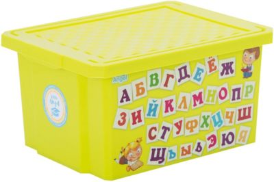 Ящик для хранения игрушек X-BOX Обучайка Азбука 17л, Little Angel, салатовый