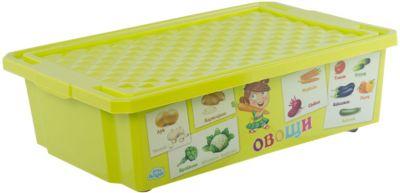 Ящик для хранения игрушек X-BOX Обучайка Овощи-фрукты 30л, Little Angel, салатовый