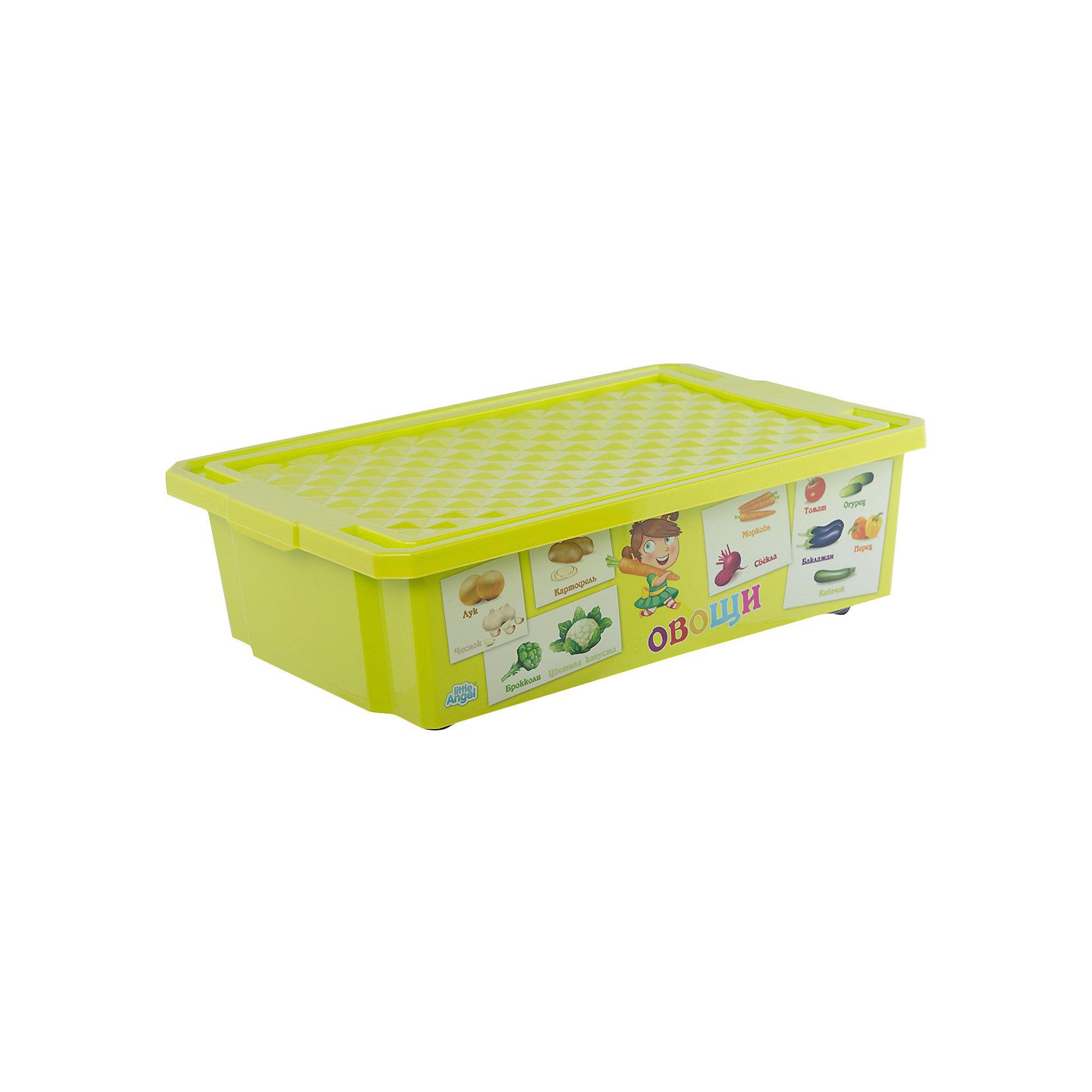 Ящик для хранения игрушек X-BOX Обучайка Овощи-фрукты 30л, Little Angel, салатовыйХарактеристики ящика для хранения игрушек  X-BOX Обучайка Овощи-фрукты 30л, Little Angel, салатовый:<br><br>- возраст: от 3 лет<br>- пол: для мальчиков и девочек<br>- цвет: салатовый.<br>- материал: полипропилен.<br>- размер упаковки:  67 *61 * 61 см.<br>- размер ящика: 61* 40.5 * 19.3 см.<br>- вместимость: 30 л.<br>- вес: 1.29 кг.<br>- бренд: Little Angel<br>- страна обладатель бренда: Россия.<br><br>Ящик для хранения Овощи и фрукты X-BOX  Обучайка Овощи-фрукты торговой марки Little Angel поможет Вам решить вопрос компактного хранения детских игрушек Вашего ребенка.  Ящик выполнен в насыщенном салатовом цвете и оформлен обучающими картинками, которые помогут ребенку выучить и запомнить названия овощей и фруктов. Прочный пластиковый бокс Обучайка оснащен закрывающейся крышкой, которая предотвратит загрязнение и поможет содержать игрушки в чистоте.<br><br>Детский ящик для хранения игрушек X-Box Обучайка Овощи-фрукты торговой  марки Little Angel можно купить в нашем интернет-магазине.<br><br>Ширина мм: 610<br>Глубина мм: 405<br>Высота мм: 193<br>Вес г: 1453<br>Возраст от месяцев: 24<br>Возраст до месяцев: 72<br>Пол: Унисекс<br>Возраст: Детский<br>SKU: 5136378