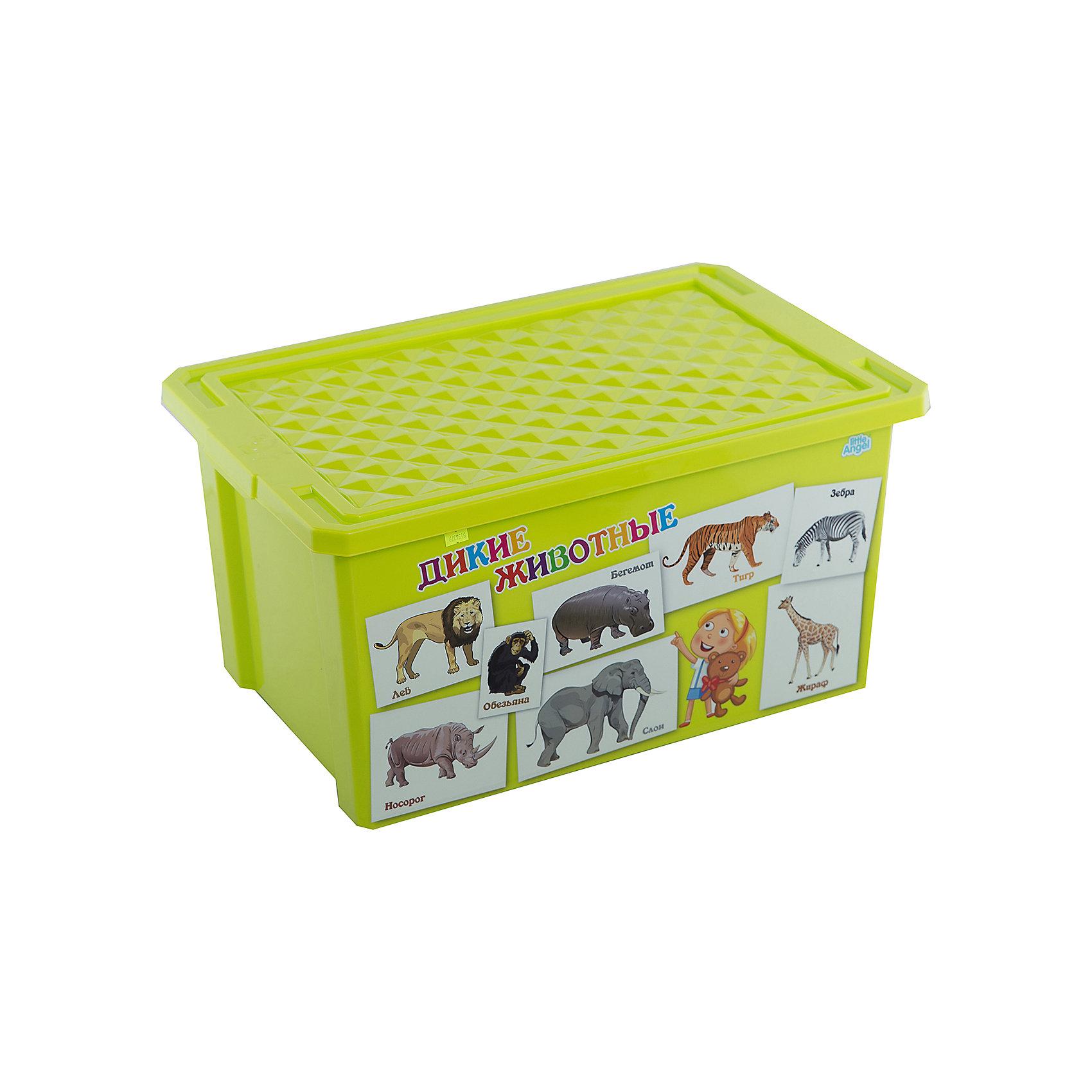 Ящик для хранения игрушек X-BOX Обучайка Животные 57л, Little Angel, салатовыйПорядок в детской<br>Характеристики ящика для хранения игрушек X-BOX Обучайка Животные 57л, Little Angel, салатовый:<br><br>- возраст: от 3 лет<br>- пол: для мальчиков и девочек<br>- цвет: салатовый.<br>- материал: полипропилен.<br>- размер упаковки: 79 * 59 * 44 см.<br>- размер ящика: 61 * 40.5 * 33 см.<br>- вместимость: 57 л.<br>- вес: 1.91 кг.<br>- бренд: Little Angel<br>- страна обладатель бренда: Россия.<br><br>Детский ящик для хранения игрушек X-Box Обучайка от производителя Little Angel - это очень легкая и удобная в эксплуатации емкость яркого салатового цвета. На одной стороне этого бокса имеется красочное изображение в виде иллюстрированных карточек с буквами которые помогут Вашему малышу быстрее запомнить буквы в игровой форме.<br><br>Детский ящик для хранения игрушек X-Box Обучайка Животные торговой  марки Little Angel можно купить в нашем интернет-магазине.<br><br>Ширина мм: 610<br>Глубина мм: 405<br>Высота мм: 330<br>Вес г: 2140<br>Возраст от месяцев: 24<br>Возраст до месяцев: 72<br>Пол: Унисекс<br>Возраст: Детский<br>SKU: 5136379