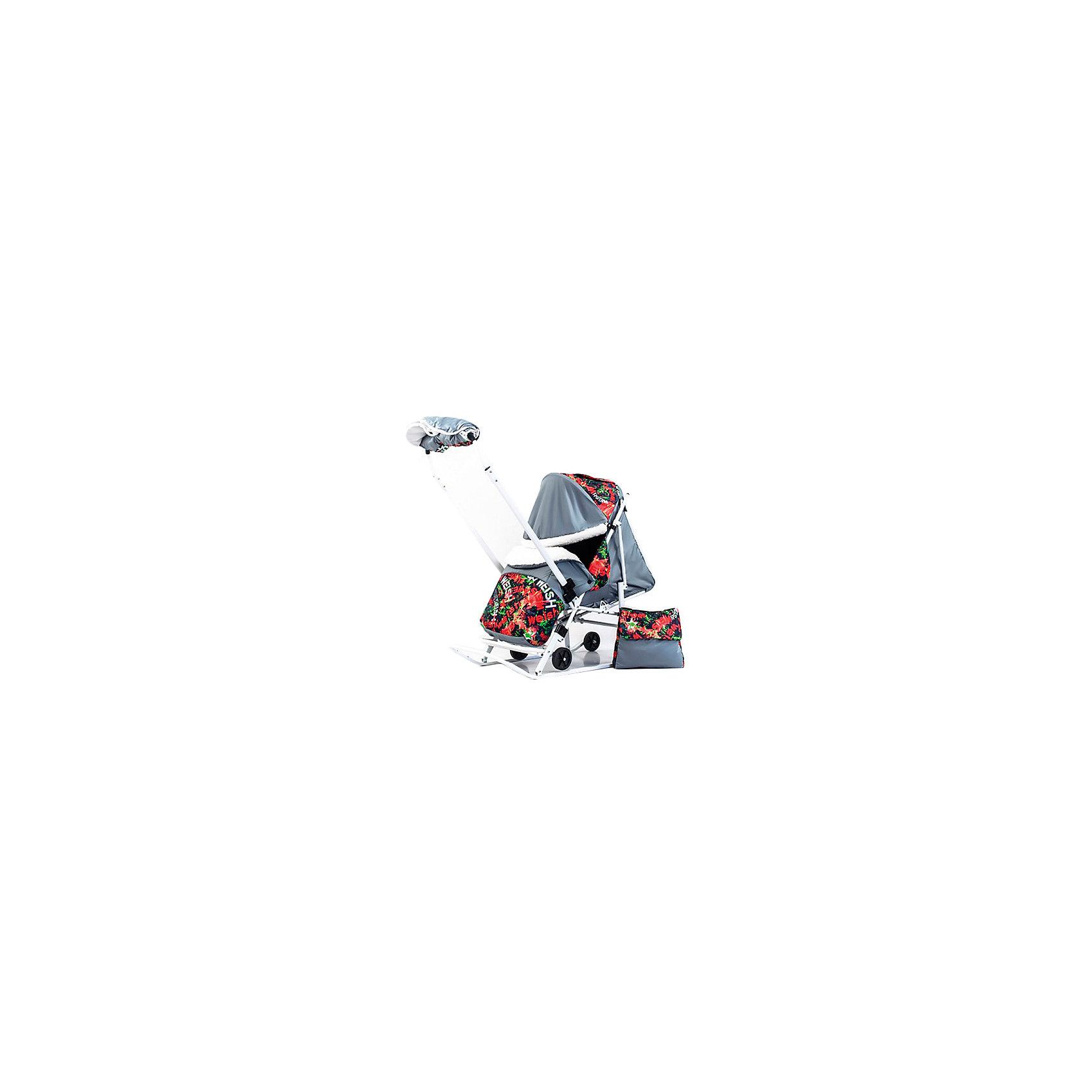Санки-коляска Пушок К, красный/зеленыйСанки-коляска Пушок К, красный/зеленый.<br><br>Характеристики:<br><br>• колесики санок легко убираются<br>• объемный капюшон можно полностью опустить в случае непогоды<br>• 4 положения спинки, включая лежачее<br>• надежные ремни безопасности<br>• теплый чехол для ног<br>• есть сумка для мамы<br>• легко складывается <br>• ширина полозьев: 3 см <br>• вес: 7,5 кг<br>• цвет: красный/зеленый<br><br>Санки-коляска Пушок К подойдут для детей от 7 месяцев до 4 лет. Они оснащены колесами, которые легко выдвигаются и убираются. Модель имеет удобную подножку, чехол для ног и сумку для мамы. Спинка санок регулируется в четырех положениях, что особенно удобно для детей до года. Объемный регулируемый капюшон защитит малыша от ветра и холода. С такими санками-коляской вы сможете проводить время на свежем воздухе с удовольствием!<br><br>Вы можете купить санки-коляску Пушок К, красный/зеленый в нашем интернет-магазине.<br><br>Ширина мм: 1200<br>Глубина мм: 440<br>Высота мм: 240<br>Вес г: 8000<br>Возраст от месяцев: 12<br>Возраст до месяцев: 48<br>Пол: Унисекс<br>Возраст: Детский<br>SKU: 5137215
