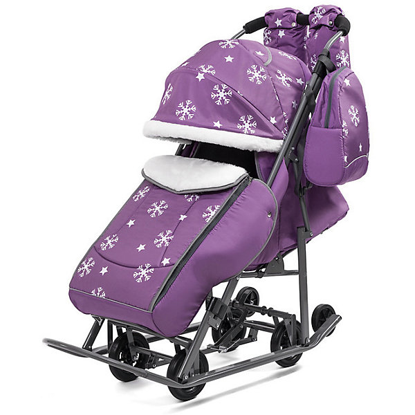 Санки-коляска ABC Academy Pikate Снежинки на тёмно-серой раме, фиолетовый