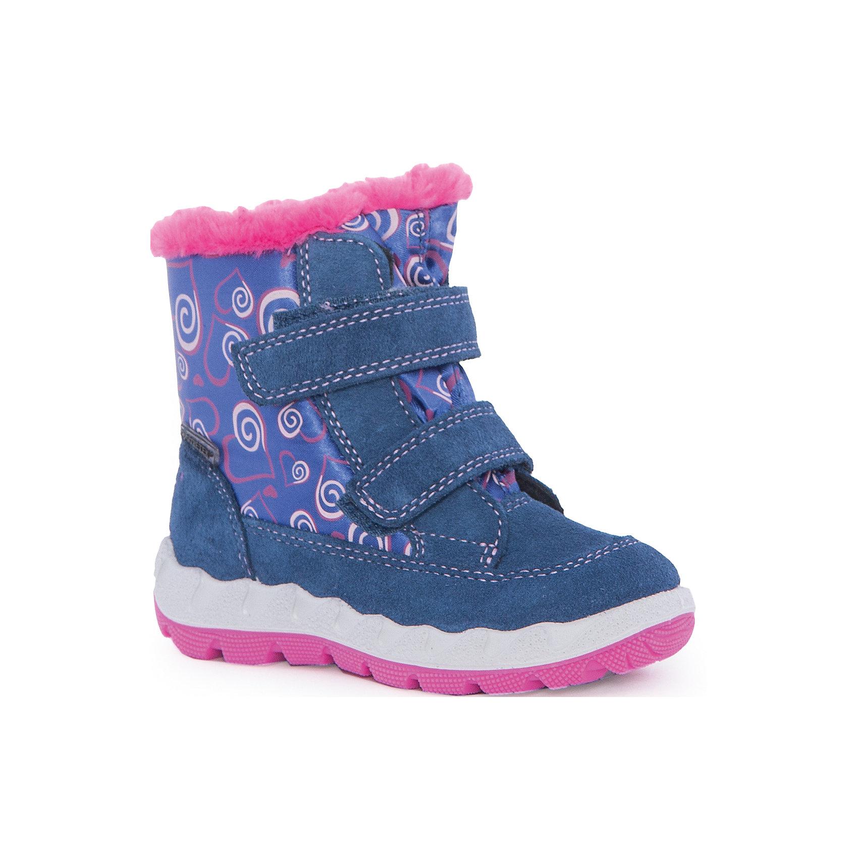 Ботинки для девочки SuperfitОбувь для малышей<br>Характеристики товара:<br><br>• цвет: фиолетовый<br>• материал верха: замша, текстиль<br>• материал подкладки: зимний утеплитель<br>• материал подошвы: полиуретан<br>• температурный режим: от -25° до 0° С<br>• мембранный слой Gore-Tex<br>• подошва не скользит<br>• застежка: липучка<br>• толстая устойчивая подошва<br>• усиленные пятка и носок<br>• страна бренда: Австрия<br>• страна изготовитель: Румыния<br><br>При выборе зимней обуви для ребенка необходимо убедиться, что она удобная и теплая. Такие полусапожки обеспечат детям комфорт даже в морозы, а мембранный слой позволит ножкам оставаться в тепле и сухости: мембрана Gore-Tex выводит жидкость наружу, позволяет коже дышать, не пропуская влагу внутрь обуви. Полусапожки легко снимаются и надеваются, хорошо сидят на ноге. Внутри - специальная теплая подкладка, с которой холода не страшны!<br>Обувь от бренда SUPERFIT - это качественные товары, произведенные с применением последних разработок и с использованием как натуральных, так и высокотехнологичных материалов. Обувь выделяется стильным дизайном и проработанными деталями. Изделие производится из качественных и проверенных материалов, которые безопасны для детей.<br><br>Полусапоги для девочки от бренда SUPERFIT можно купить в нашем интернет-магазине.<br><br>Ширина мм: 257<br>Глубина мм: 180<br>Высота мм: 130<br>Вес г: 420<br>Цвет: синий<br>Возраст от месяцев: 48<br>Возраст до месяцев: 60<br>Пол: Женский<br>Возраст: Детский<br>Размер: 28,23,24,25,26,27<br>SKU: 5137614