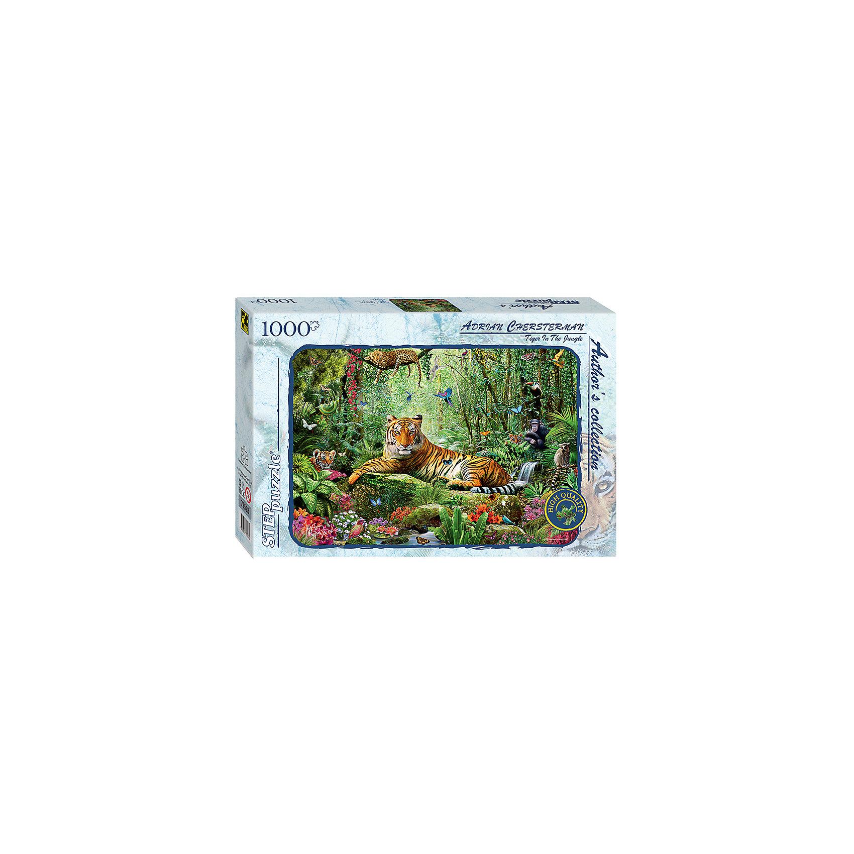 Пазл Тигр в джунглях (Авторская коллекция), 1000 деталей, Step PuzzleКоличество деталей<br>Характеристики товара:<br><br>- цвет: разноцветный;<br>- материал: картон;<br>- деталей: 1000;<br>- высокая точность подгонки элементов;<br>- отличное качество печати;<br>- упаковка: коробка.<br><br>Собирать пазлы любят и дети, и взрослые! Это занятие может не только позволять весело проводить время, но и помогать всестороннему развитию ребенка. Изделие представляет собой детали, из которых нужно собрать очень красивую картинку. Все детали отлично проработаны, готовое изображение можно даже зафиксировать на бумаге и украсить им интерьер!<br>Собирание пазлов поможет формированию разных навыков, оно помогает развить тактильное восприятие, мелкую моторику, воображение, внимание и логику. Изделие произведено из качественных материалов, безопасных для ребенка. Набор станет отличным подарком детям!<br><br>Пазл Тигр в джунглях (Авторская коллекция), 1000 деталей, от бренда Step Puzzle можно купить в нашем интернет-магазине.<br><br>Ширина мм: 400<br>Глубина мм: 270<br>Высота мм: 55<br>Вес г: 780<br>Возраст от месяцев: 84<br>Возраст до месяцев: 180<br>Пол: Унисекс<br>Возраст: Детский<br>SKU: 5138171