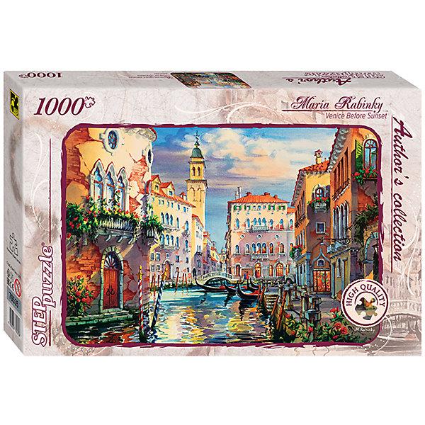 Пазл  Венеция перед закатом, 1000 деталей, Step PuzzleПазлы классические<br>Характеристики товара:<br><br>- цвет: разноцветный;<br>- материал: картон;<br>- деталей: 1000;<br>- высокая точность подгонки элементов;<br>- отличное качество печати;<br>- упаковка: коробка.<br><br>Собирать пазлы любят и дети, и взрослые! Это занятие может не только позволять весело проводить время, но и помогать всестороннему развитию ребенка. Изделие представляет собой детали, из которых нужно собрать очень красивую картинку. Все детали отлично проработаны, готовое изображение можно даже зафиксировать на бумаге и украсить им интерьер!<br>Собирание пазлов поможет формированию разных навыков, оно помогает развить тактильное восприятие, мелкую моторику, воображение, внимание и логику. Изделие произведено из качественных материалов, безопасных для ребенка. Набор станет отличным подарком детям!<br><br>Пазл Венеция перед закатом, 1000 деталей, от бренда Step Puzzle можно купить в нашем интернет-магазине.<br>Ширина мм: 400; Глубина мм: 270; Высота мм: 55; Вес г: 780; Возраст от месяцев: 84; Возраст до месяцев: 180; Пол: Унисекс; Возраст: Детский; SKU: 5138177;