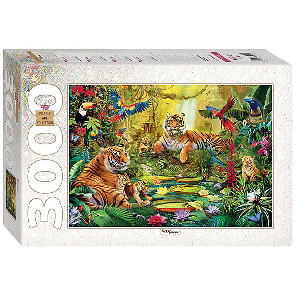 Пазл В джунглях, 3000 деталей, Step PuzzleПазлы классические<br>Характеристики товара:<br><br>- цвет: разноцветный;<br>- материал: картон;<br>- деталей: 3000;<br>- высокая точность подгонки элементов;<br>- отличное качество печати;<br>- упаковка: коробка.<br><br>Собирать пазлы любят и дети, и взрослые! Это занятие может не только позволять весело проводить время, но и помогать всестороннему развитию ребенка. Изделие представляет собой детали, из которых нужно собрать очень красивую картинку. Все детали отлично проработаны, готовое изображение можно даже зафиксировать на бумаге и украсить им интерьер!<br>Собирание пазлов поможет формированию разных навыков, оно помогает развить тактильное восприятие, мелкую моторику, воображение, внимание и логику. Изделие произведено из качественных материалов, безопасных для ребенка. Набор станет отличным подарком детям!<br><br>Пазл В джунглях, 3000 деталей, от бренда Step Puzzle можно купить в нашем интернет-магазине.<br>Ширина мм: 400; Глубина мм: 270; Высота мм: 85; Вес г: 2750; Возраст от месяцев: 84; Возраст до месяцев: 180; Пол: Унисекс; Возраст: Детский; SKU: 5138186;