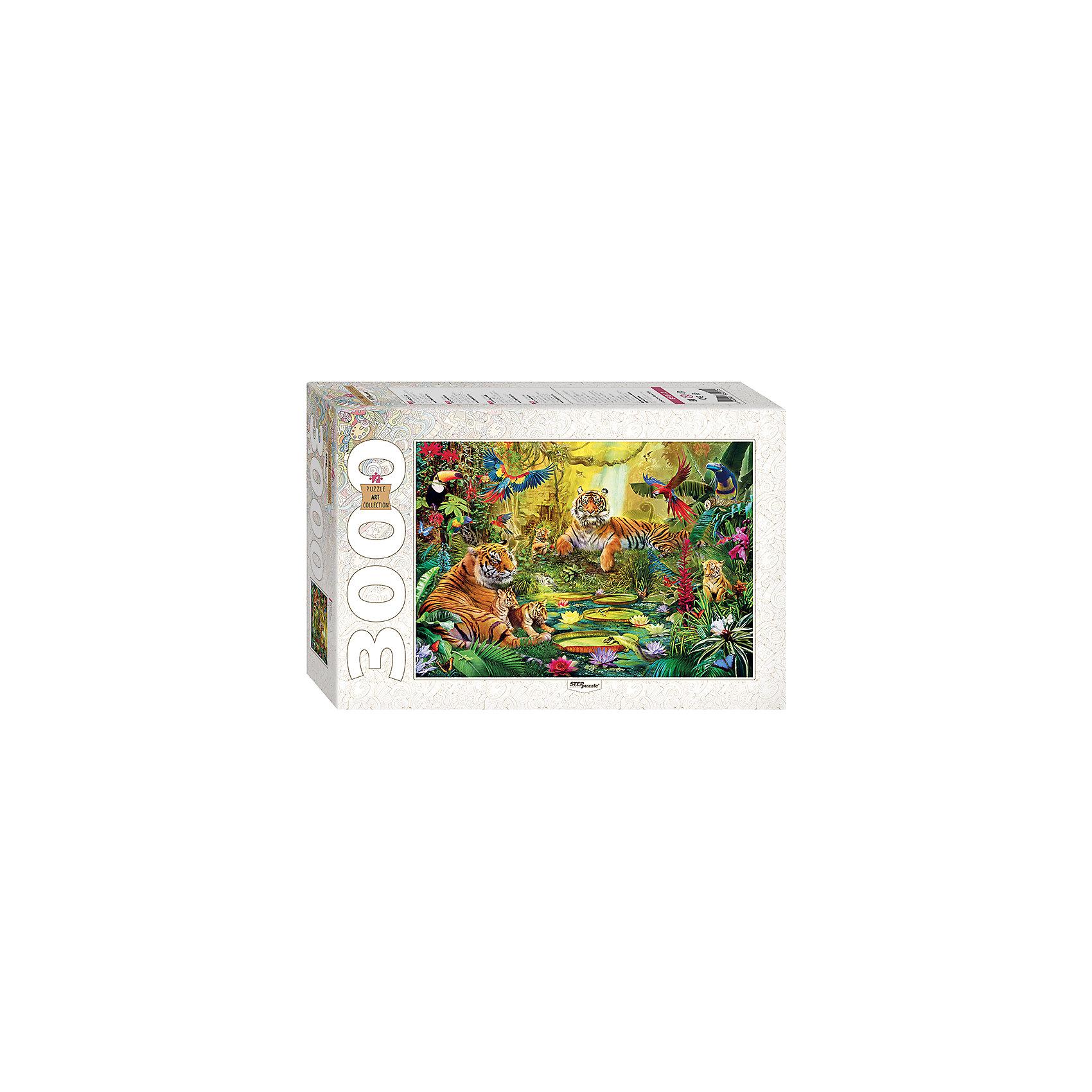 Пазл В джунглях, 3000 деталей, Step PuzzleКлассические пазлы<br>Характеристики товара:<br><br>- цвет: разноцветный;<br>- материал: картон;<br>- деталей: 3000;<br>- высокая точность подгонки элементов;<br>- отличное качество печати;<br>- упаковка: коробка.<br><br>Собирать пазлы любят и дети, и взрослые! Это занятие может не только позволять весело проводить время, но и помогать всестороннему развитию ребенка. Изделие представляет собой детали, из которых нужно собрать очень красивую картинку. Все детали отлично проработаны, готовое изображение можно даже зафиксировать на бумаге и украсить им интерьер!<br>Собирание пазлов поможет формированию разных навыков, оно помогает развить тактильное восприятие, мелкую моторику, воображение, внимание и логику. Изделие произведено из качественных материалов, безопасных для ребенка. Набор станет отличным подарком детям!<br><br>Пазл В джунглях, 3000 деталей, от бренда Step Puzzle можно купить в нашем интернет-магазине.<br><br>Ширина мм: 400<br>Глубина мм: 270<br>Высота мм: 85<br>Вес г: 2750<br>Возраст от месяцев: 84<br>Возраст до месяцев: 180<br>Пол: Унисекс<br>Возраст: Детский<br>SKU: 5138186