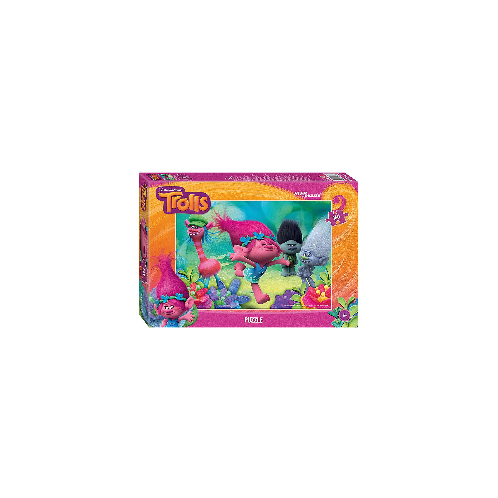 Пазл Тролли, 160 деталей, Step PuzzleТролли<br>Характеристики товара:<br><br>- цвет: разноцветный;<br>- материал: картон;<br>- размер деталей: 2х2,2 см;<br>- деталей: 160;<br>- высокая точность подгонки элементов;<br>- размер собранного изображения: 34,5?24 см;<br>- отличное качество печати;<br>- упаковка: коробка.<br><br>Собирать пазлы любят и дети, и взрослые! Это занятие может не только позволять весело проводить время, но и помогать всестороннему развитию ребенка. Изделие представляет собой детали, из которых нужно собрать очень красивую картинку. Все детали отлично проработаны, готовое изображение можно даже зафиксировать на бумаге и украсить им интерьер!<br>Собирание пазлов поможет формированию разных навыков, оно помогает развить тактильное восприятие, мелкую моторику, воображение, внимание и логику. Изделие произведено из качественных материалов, безопасных для ребенка. Набор станет отличным подарком детям!<br><br>Пазл Тролли, 160 деталей, от бренда Step Puzzle можно купить в нашем интернет-магазине.<br><br>Ширина мм: 280<br>Глубина мм: 195<br>Высота мм: 40<br>Вес г: 230<br>Возраст от месяцев: 36<br>Возраст до месяцев: 120<br>Пол: Унисекс<br>Возраст: Детский<br>SKU: 5138188