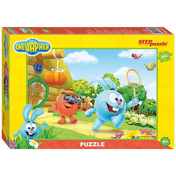 Пазл Смешарики, 260 деталей, Step PuzzleПазлы для детей постарше<br>Характеристики товара:<br><br>- цвет: разноцветный;<br>- материал: картон;<br>- размер деталей: 1,7х2,1 см;<br>- деталей: 260;<br>- высокая точность подгонки элементов;<br>- размер собранного изображения: 34,5?24 см;<br>- отличное качество печати;<br>- упаковка: коробка.<br><br>Собирать пазлы любят и дети, и взрослые! Это занятие может не только позволять весело проводить время, но и помогать всестороннему развитию ребенка. Изделие представляет собой детали, из которых нужно собрать очень красивую картинку. Все детали отлично проработаны, готовое изображение можно даже зафиксировать на бумаге и украсить им интерьер!<br>Собирание пазлов поможет формированию разных навыков, оно помогает развить тактильное восприятие, мелкую моторику, воображение, внимание и логику. Изделие произведено из качественных материалов, безопасных для ребенка. Набор станет отличным подарком детям!<br><br>Пазл Смешарики, 260 деталей, от бренда Step Puzzle можно купить в нашем интернет-магазине.<br><br>Ширина мм: 280<br>Глубина мм: 195<br>Высота мм: 34<br>Вес г: 271<br>Возраст от месяцев: 36<br>Возраст до месяцев: 120<br>Пол: Унисекс<br>Возраст: Детский<br>SKU: 5138193
